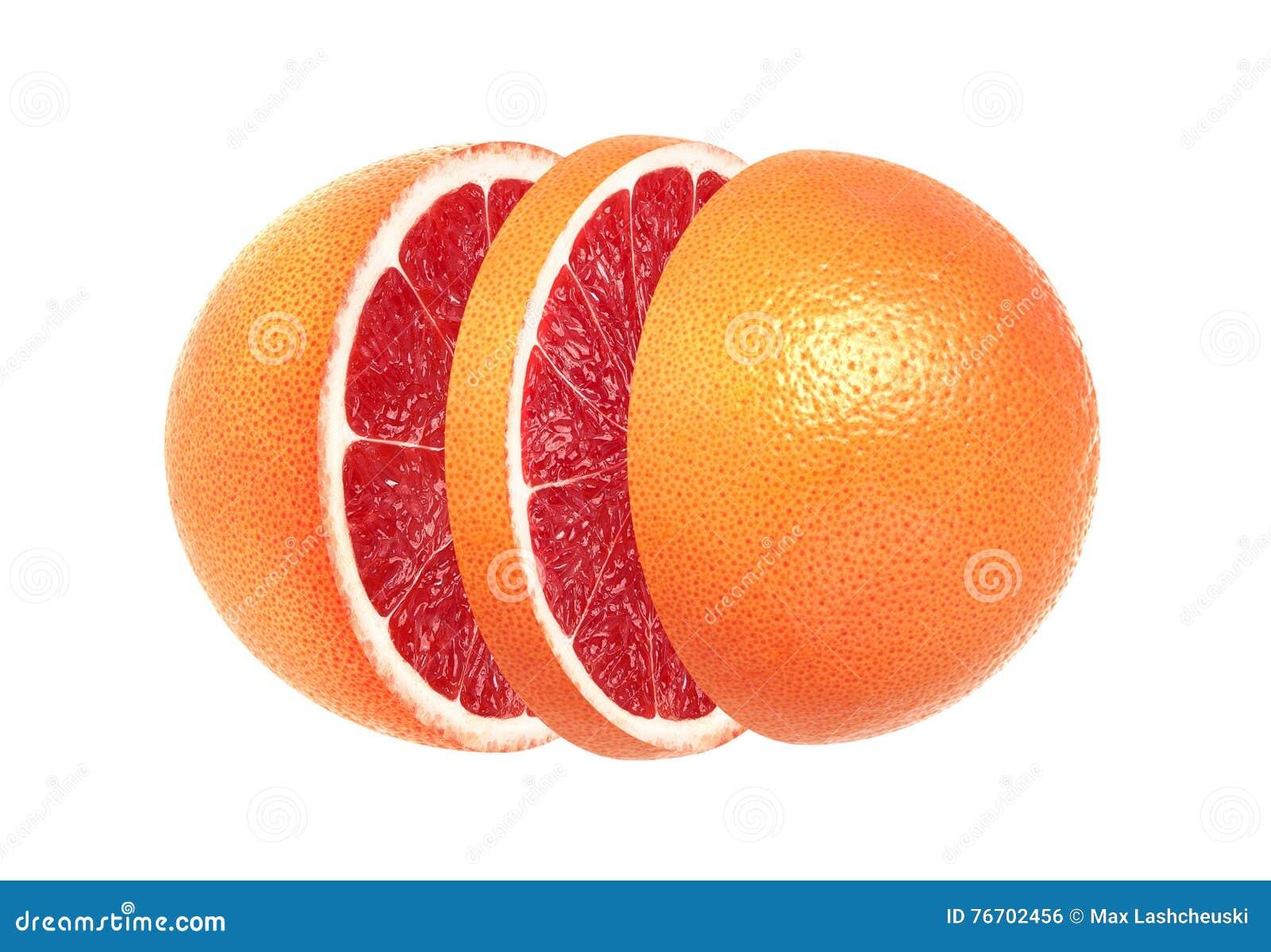 Skivad grapefrukt som isoleras på vit bakgrund