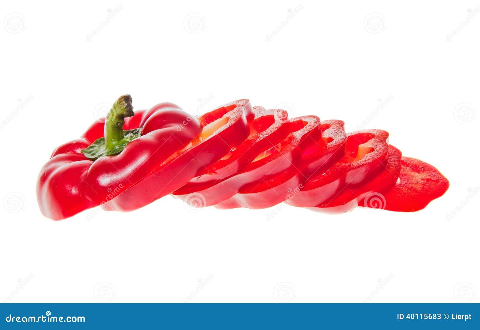Skivad röd spansk peppar