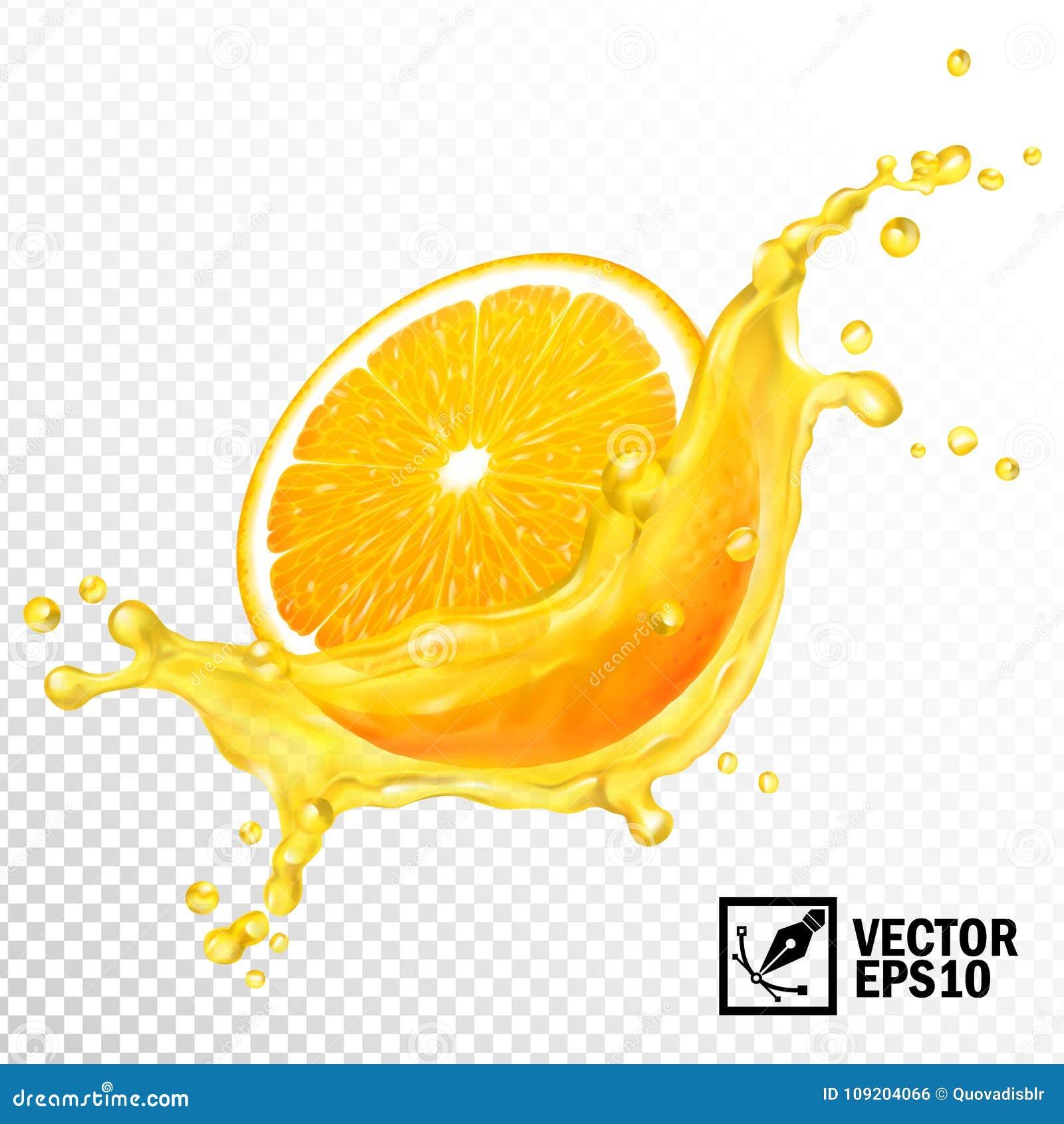 Skivade genomskinlig färgstänk för den realistiska vektorn 3d orange fruktsaft Redigerbart handgjort ingrepp