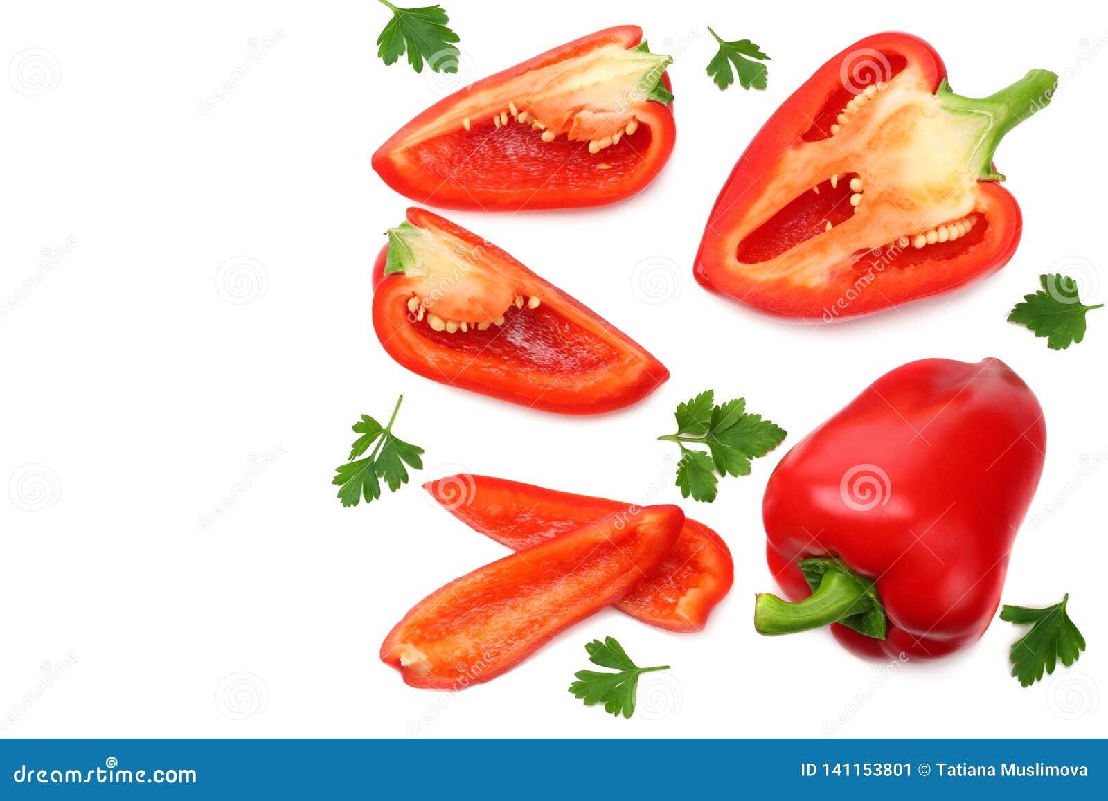 Skivade söta spanska peppar som isoleras på vit bakgrund Top beskådar