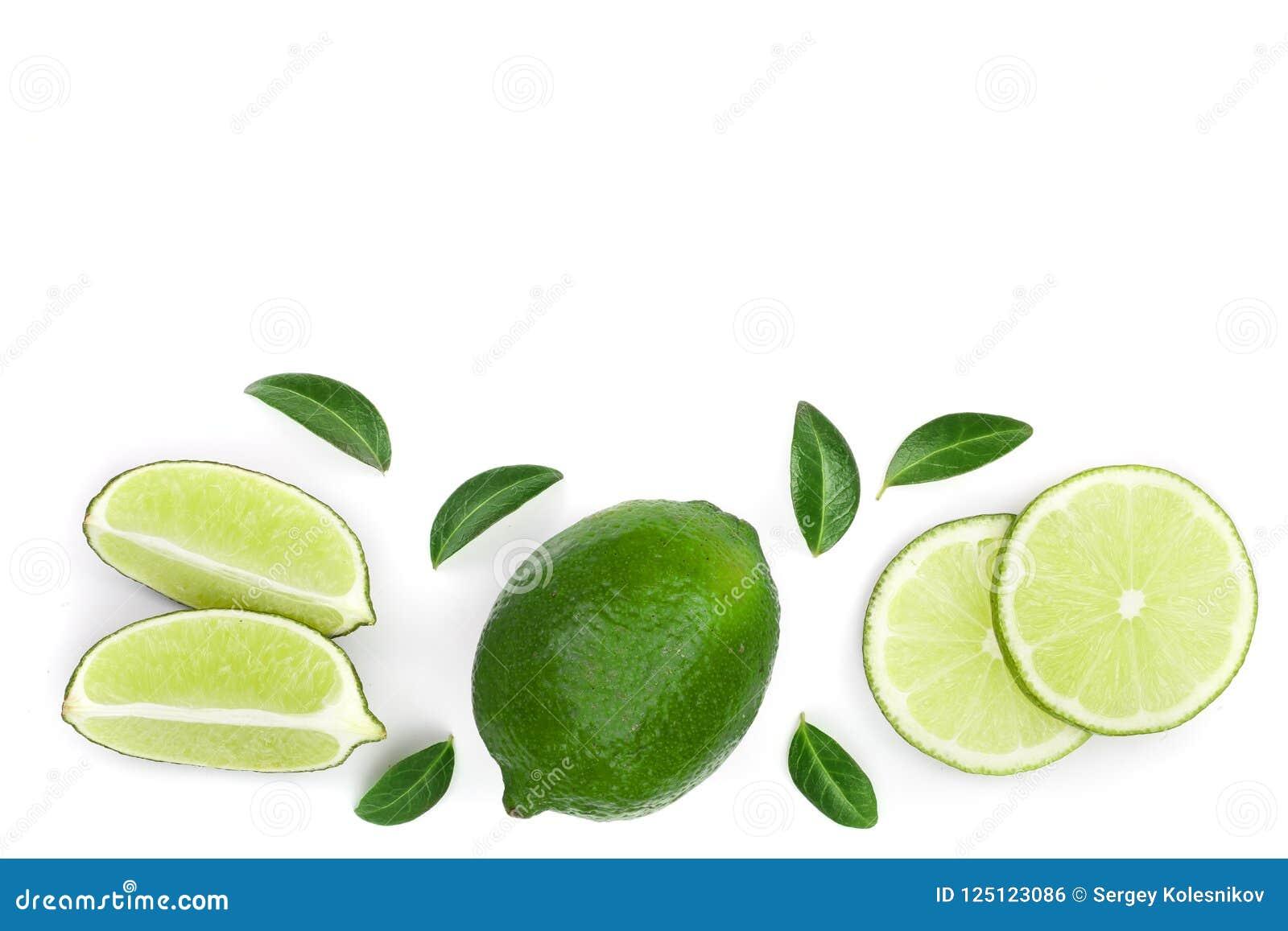 Skivade vith sidor för limefrukt som isoleras på vit bakgrund med kopieringsutrymme för din text Top beskådar Lekmanna- modell fö