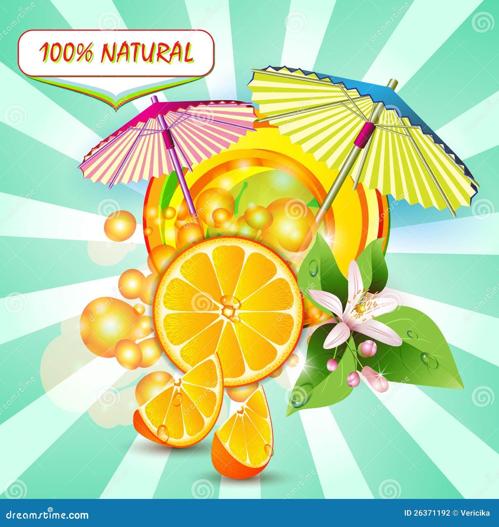 Skivar orangen med blommor