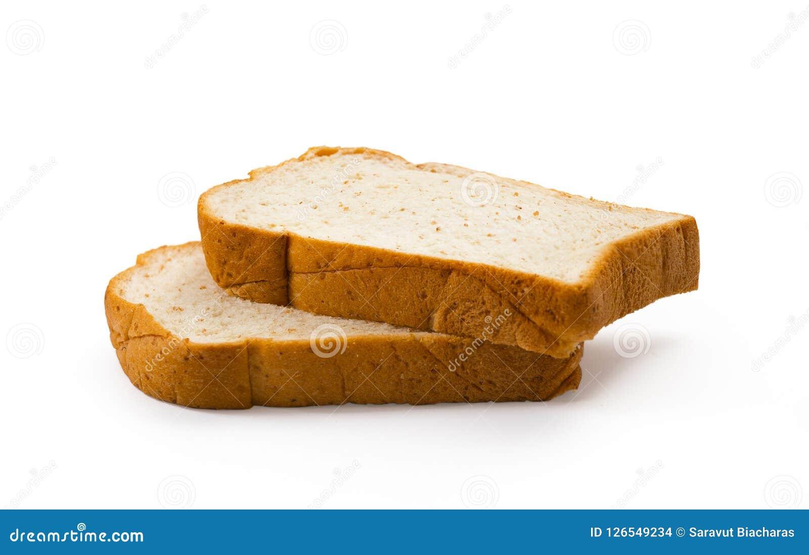 Skivat bröd som isoleras på vit bakgrund