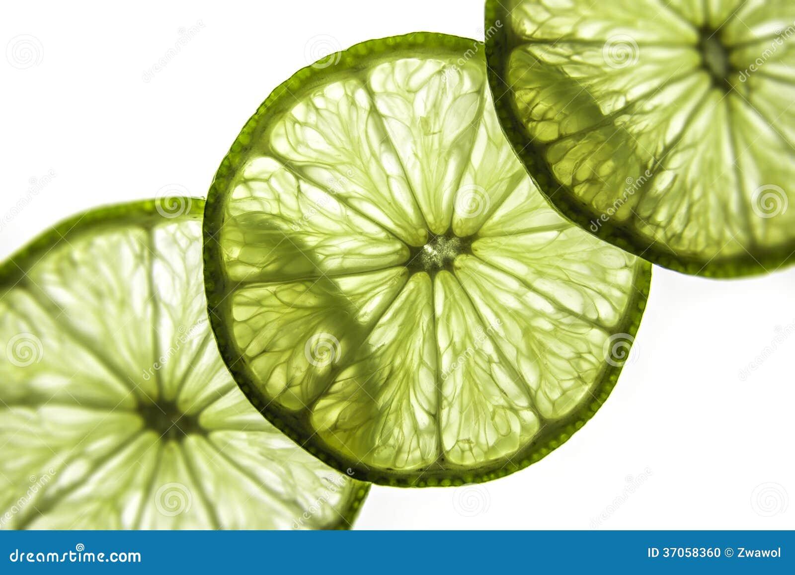 Skivor av limefrukt