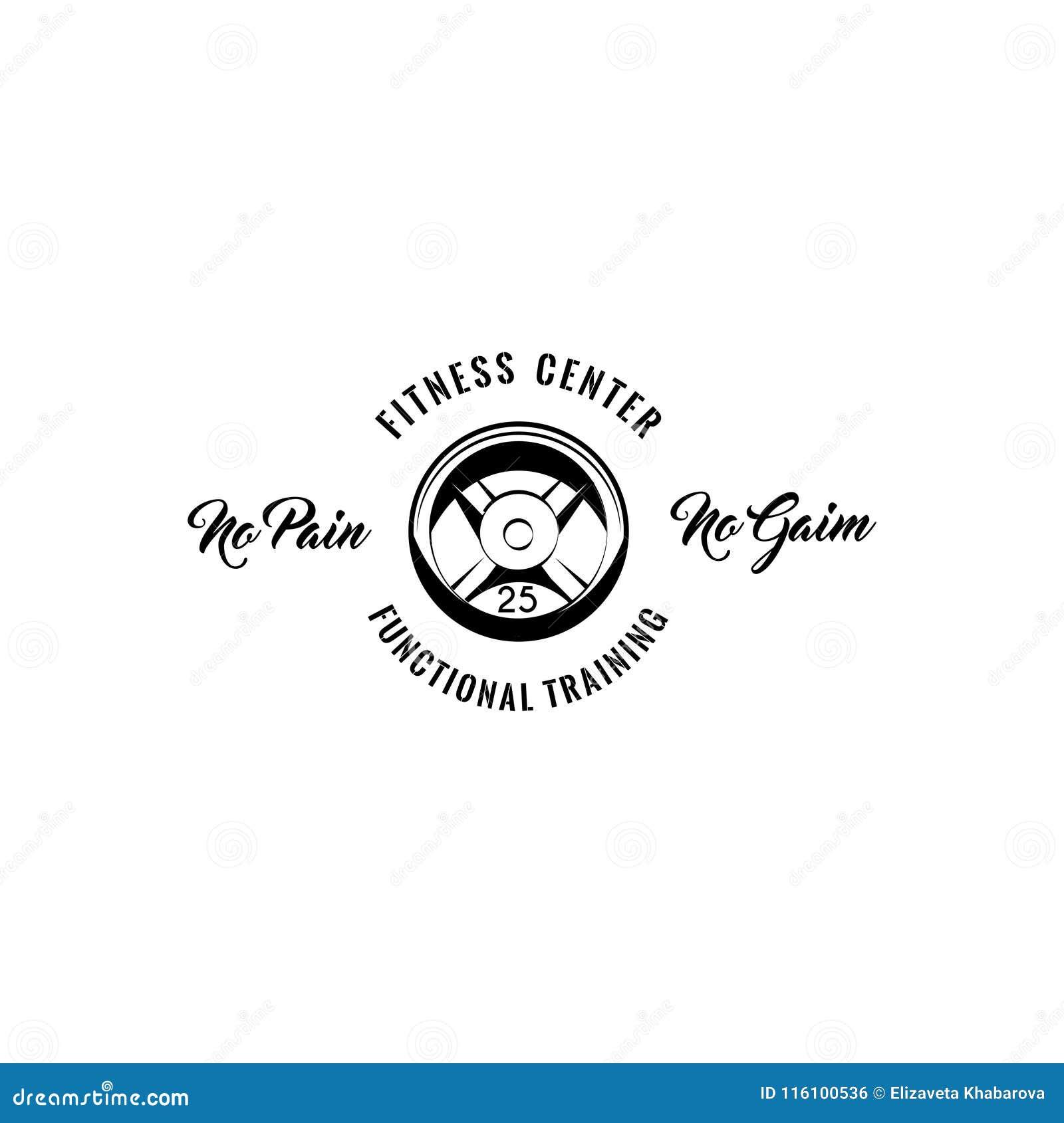 Skivstångskiva Sportutrustning Emblem för emblem för logo för konditionmitt Inget smärta ingen vinstsinskrift Funktionell utbildn