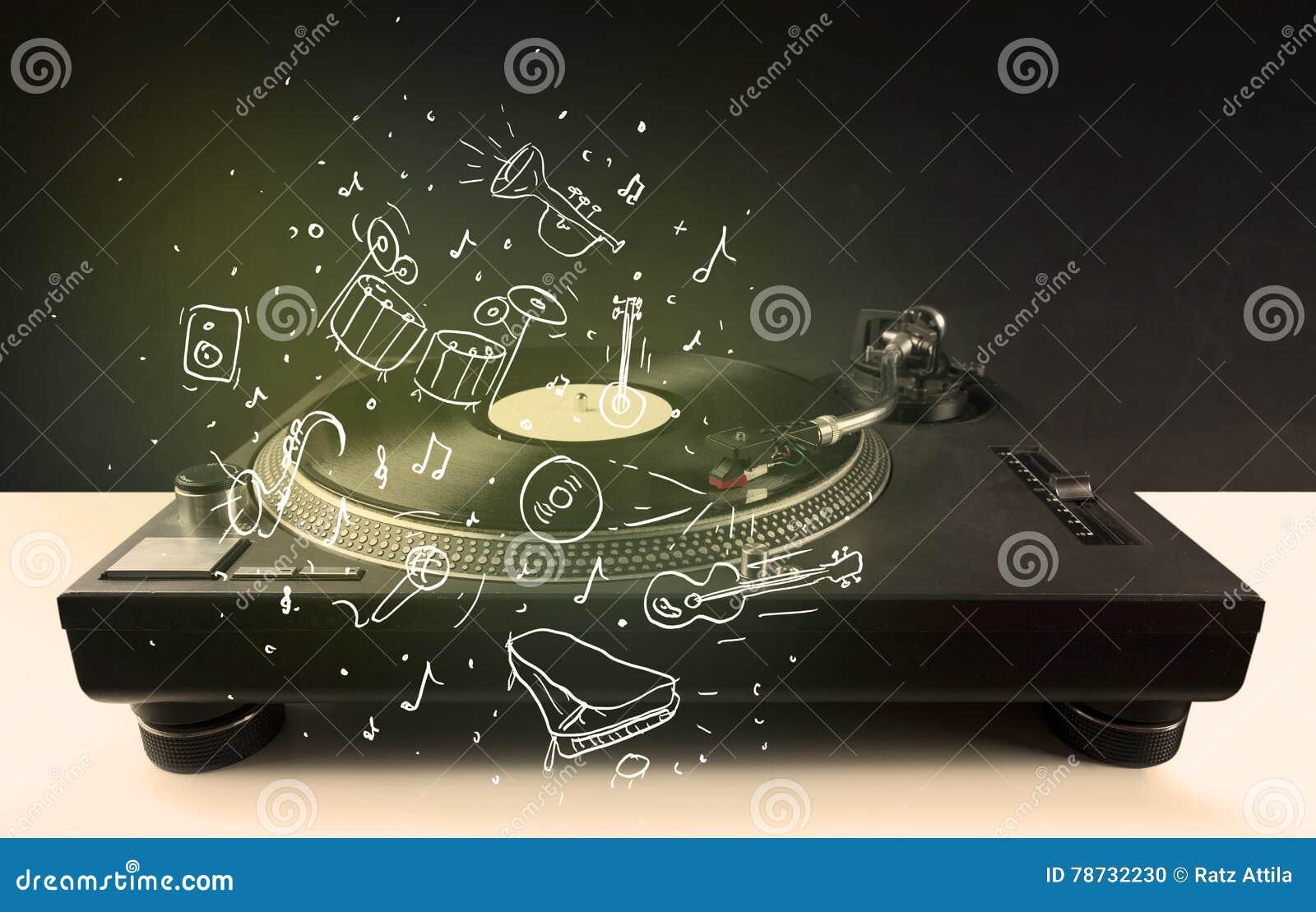 Skivtallrik som spelar klassisk musik med symbol drog instrument
