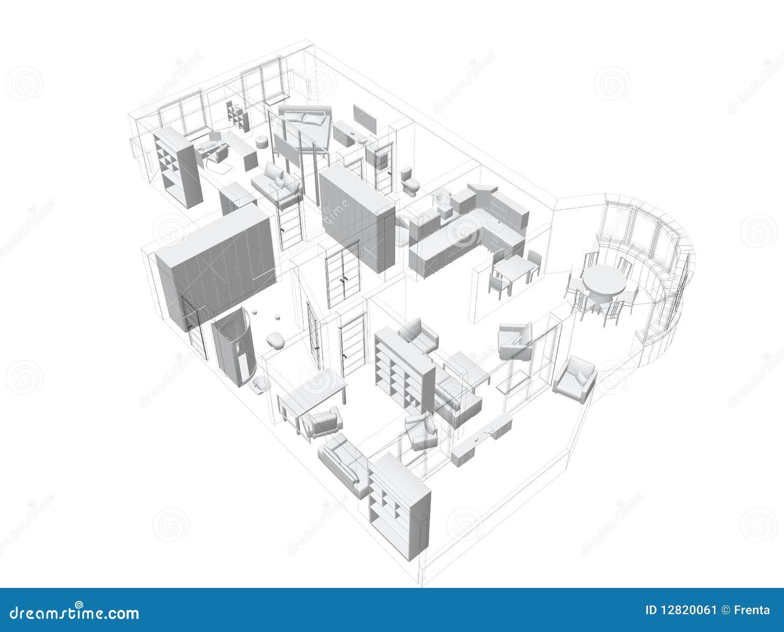 Skizze 3d einer vierraum wohnung stock abbildung bild for Wohnung zeichnen 3d