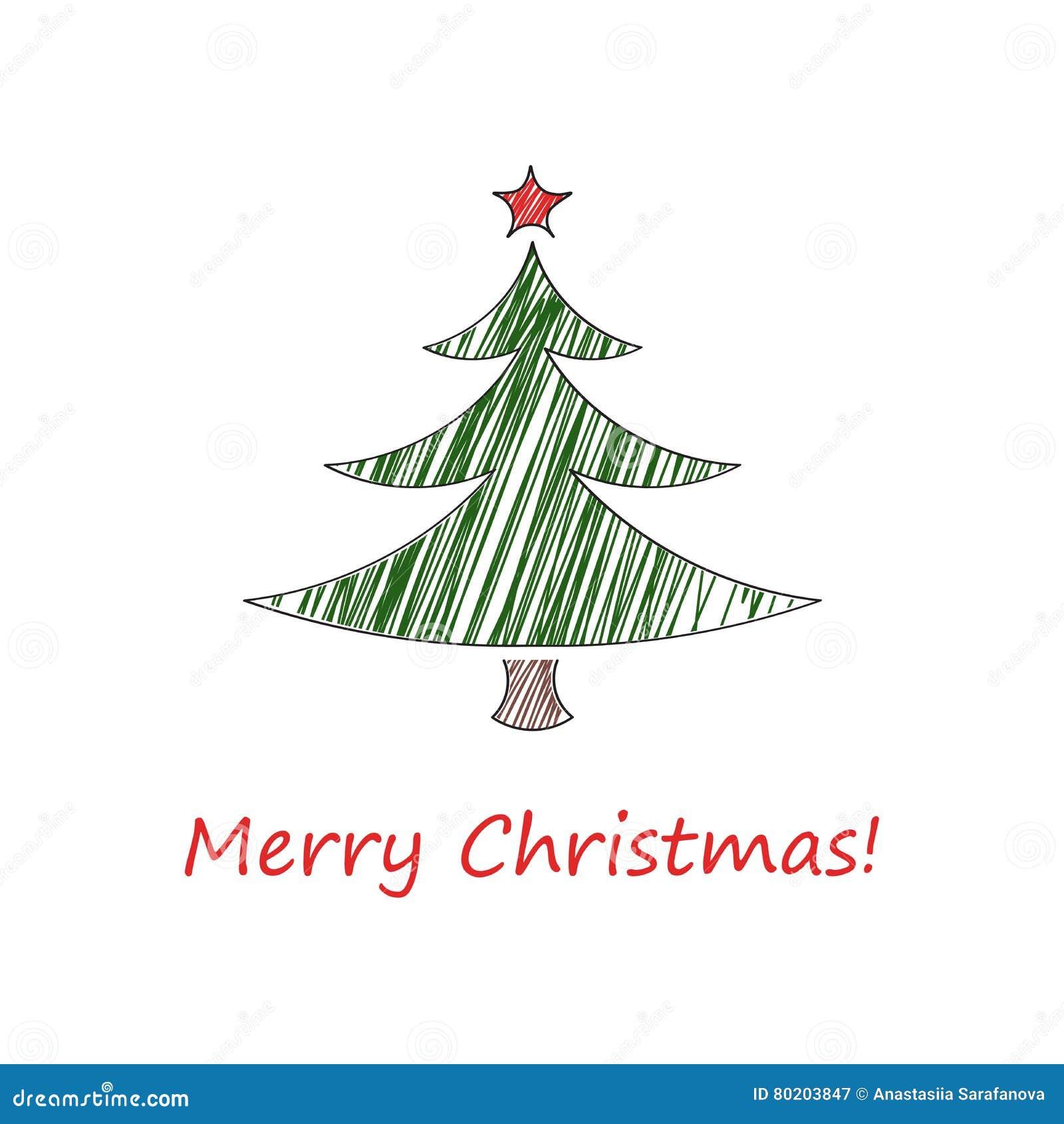 Tannenbaum Diagramm.Skizze Der Weihnachtskarte Tannenbaum Mit Einem Roten Stern Und Mit