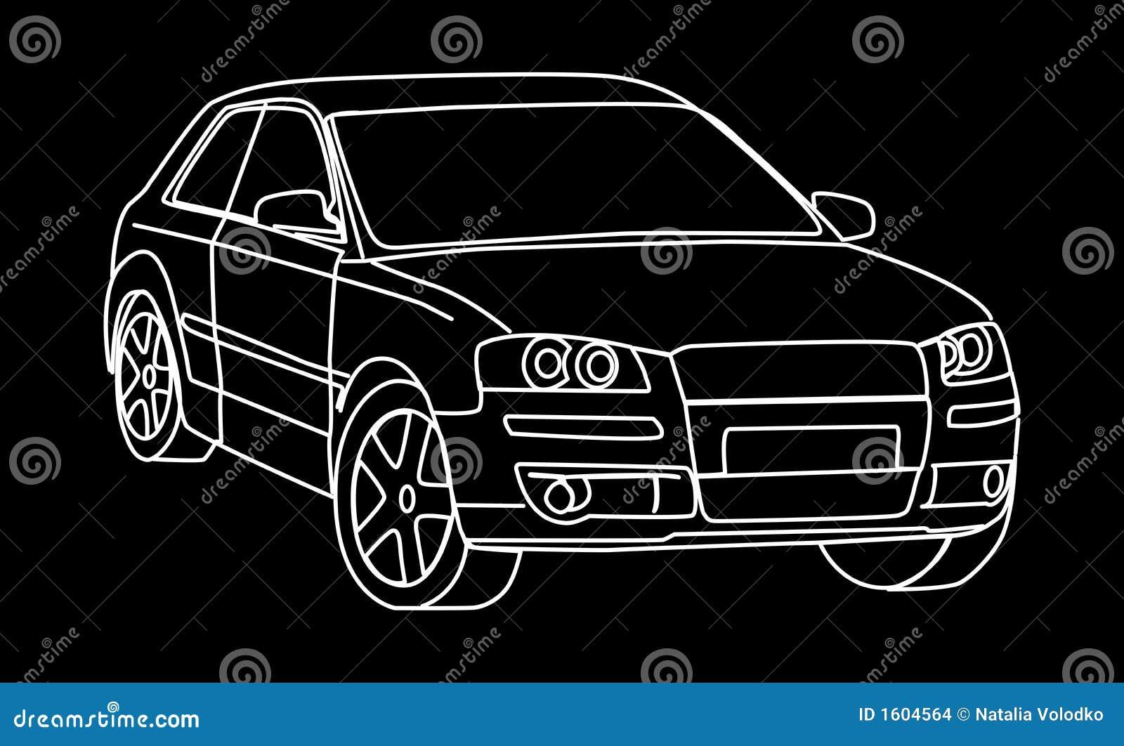 Skizze des Autos stock abbildung. Illustration von automobil - 1604564