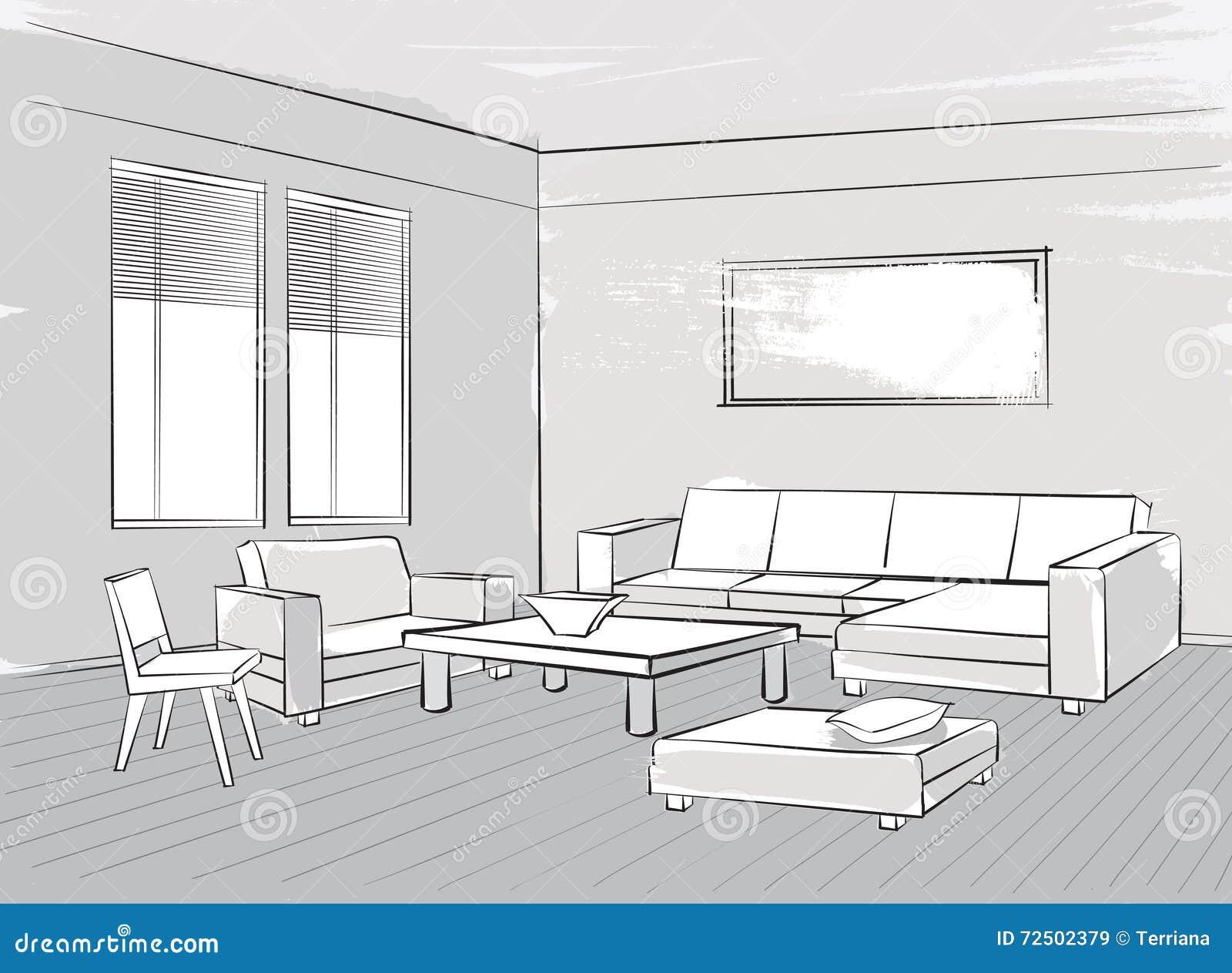 skizze des innenraums sch ner raum wohnzimmer m bel stockfoto bild 72502379. Black Bedroom Furniture Sets. Home Design Ideas