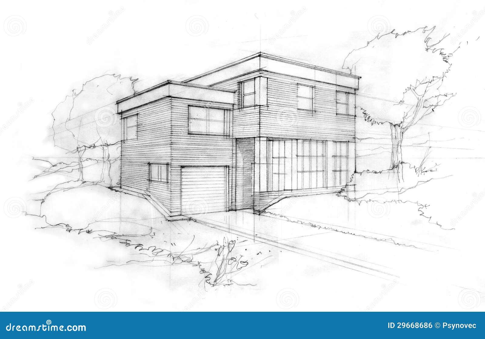Skizze eines architekten stock abbildung illustration von - Architektur skizze ...