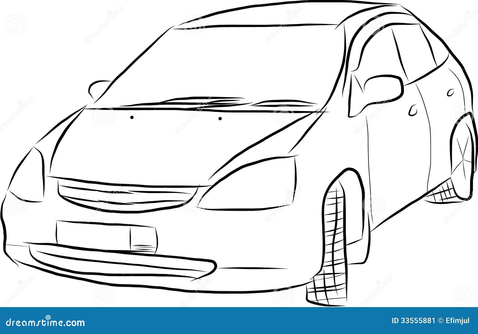 Skizze eines Autos vektor abbildung. Illustration von auto - 33555881