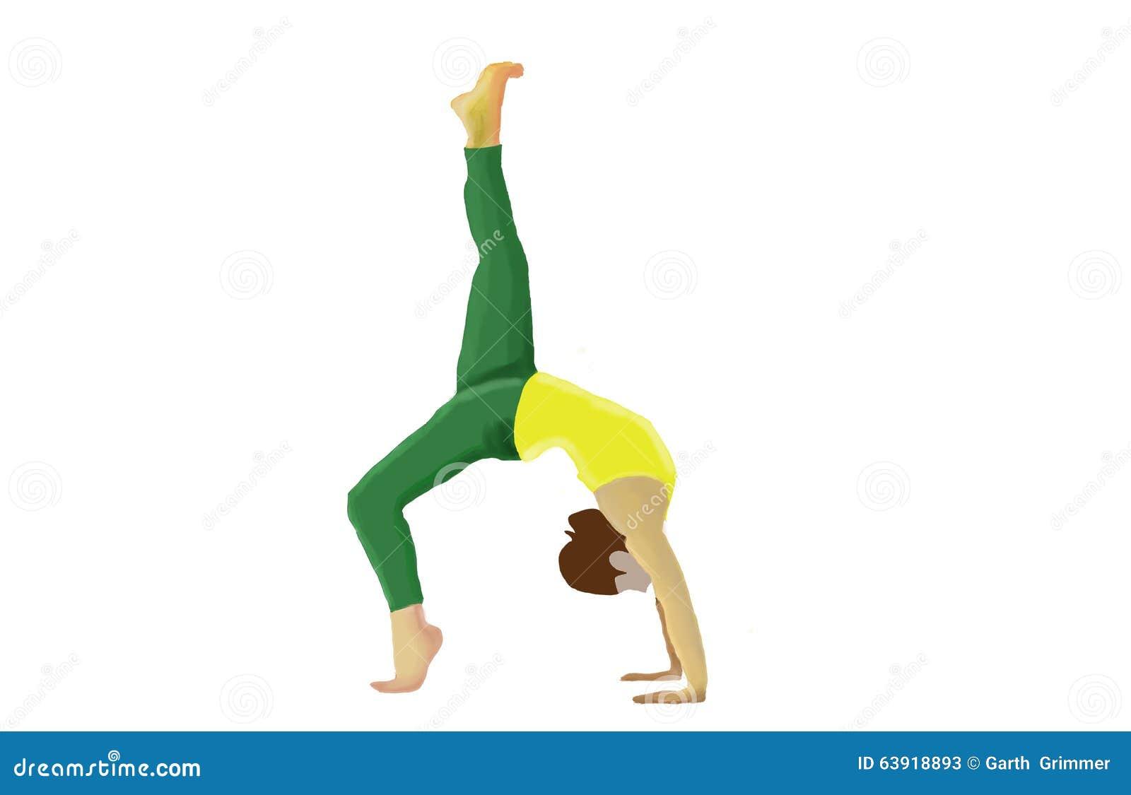 Skizze eines junge Frau übenden Yoga