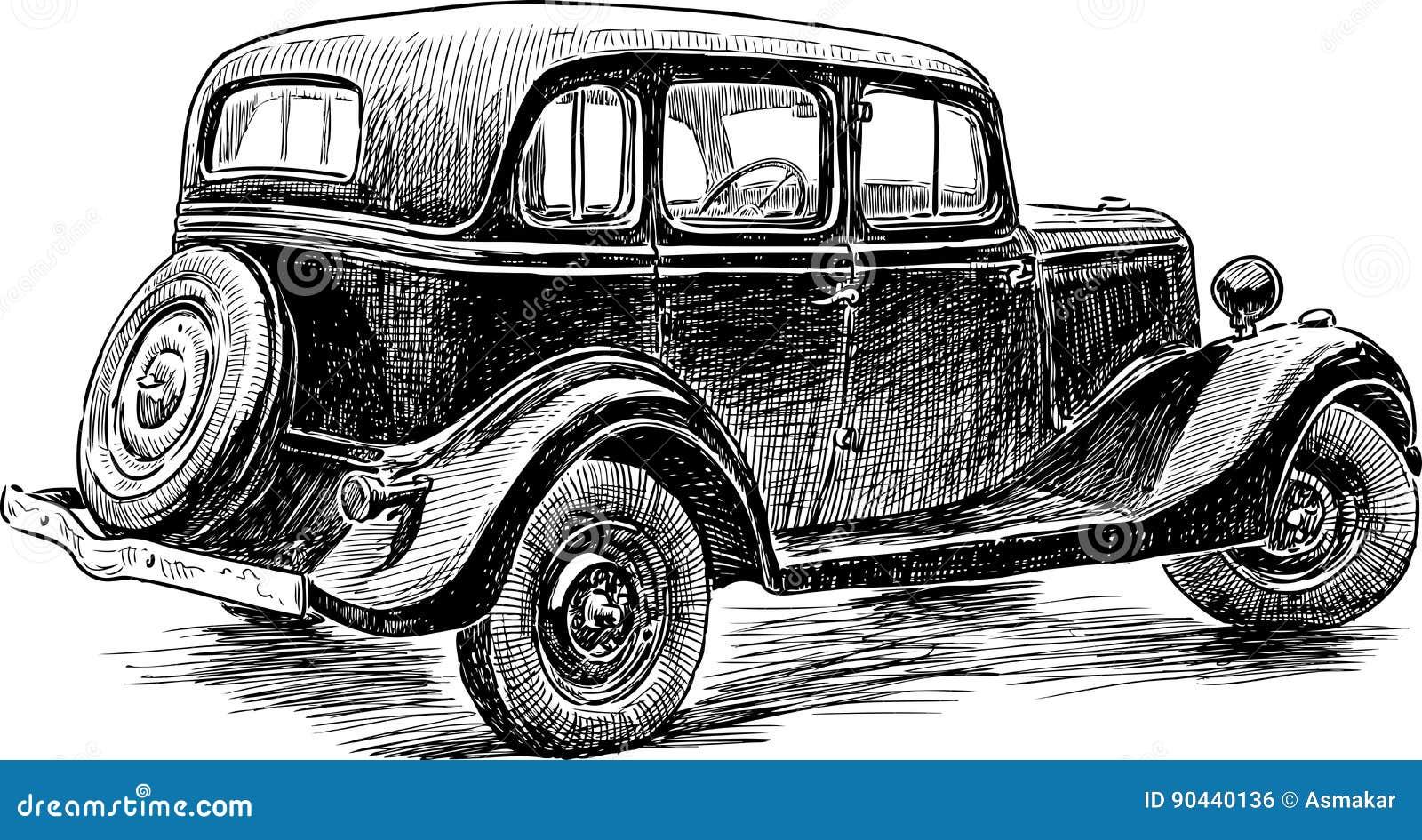 Skizze eines Retro- Autos vektor abbildung. Illustration von hand ...