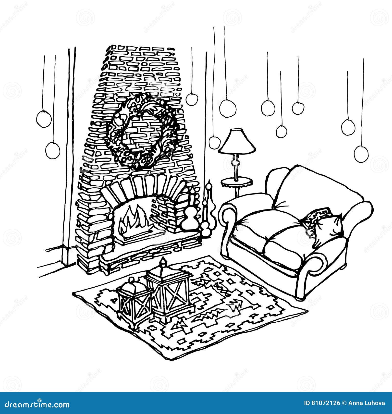 Skizze - Kamin-Weihnachten vektor abbildung. Illustration von ...