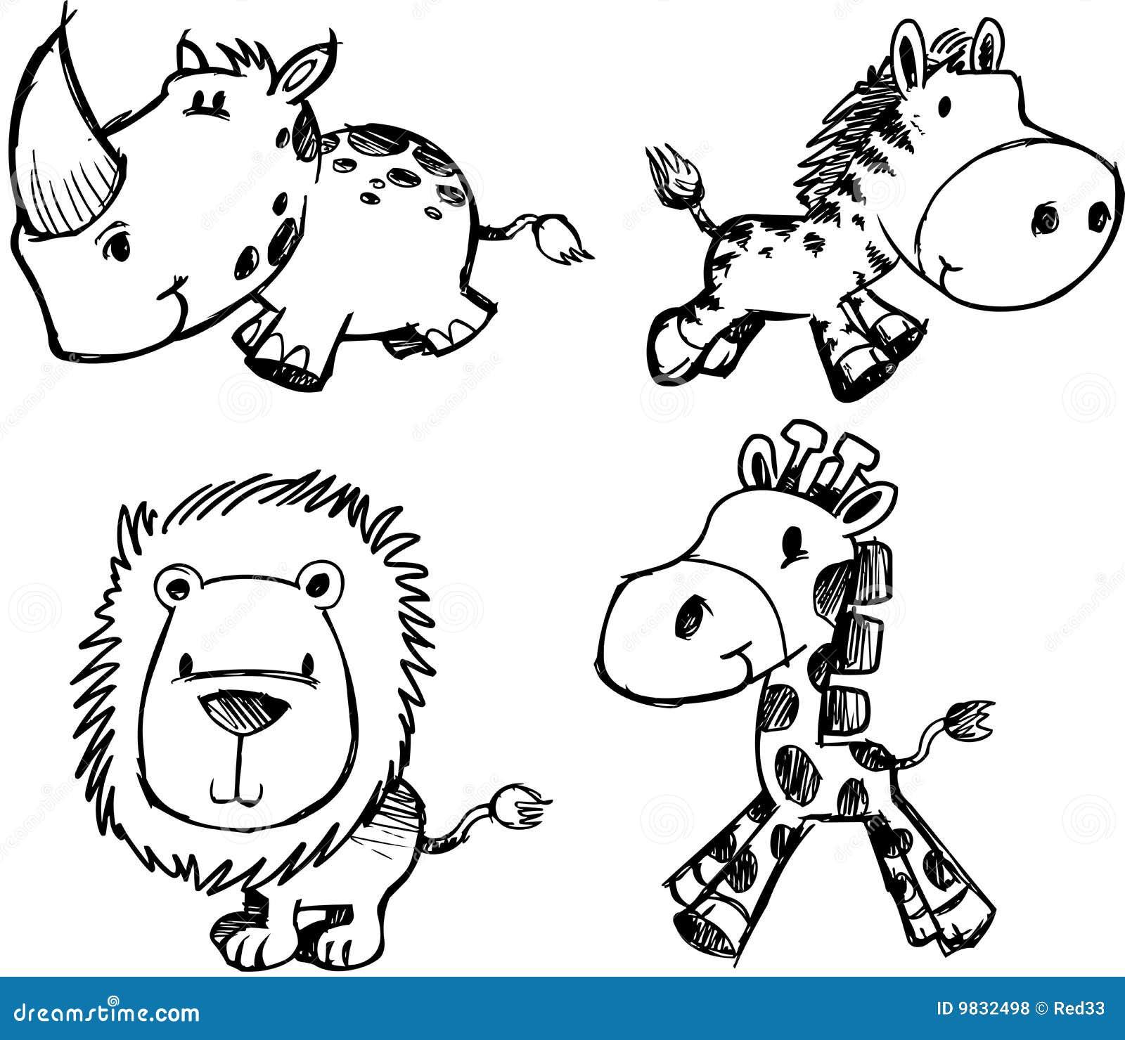 Skizze Tier Gesetzter Vektor Lizenzfreie Stockfotos Bild
