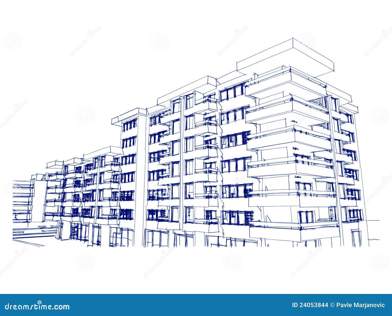 Skizzeidee Zeichnen Des Gebäudes Stock Abbildung Illustration Von