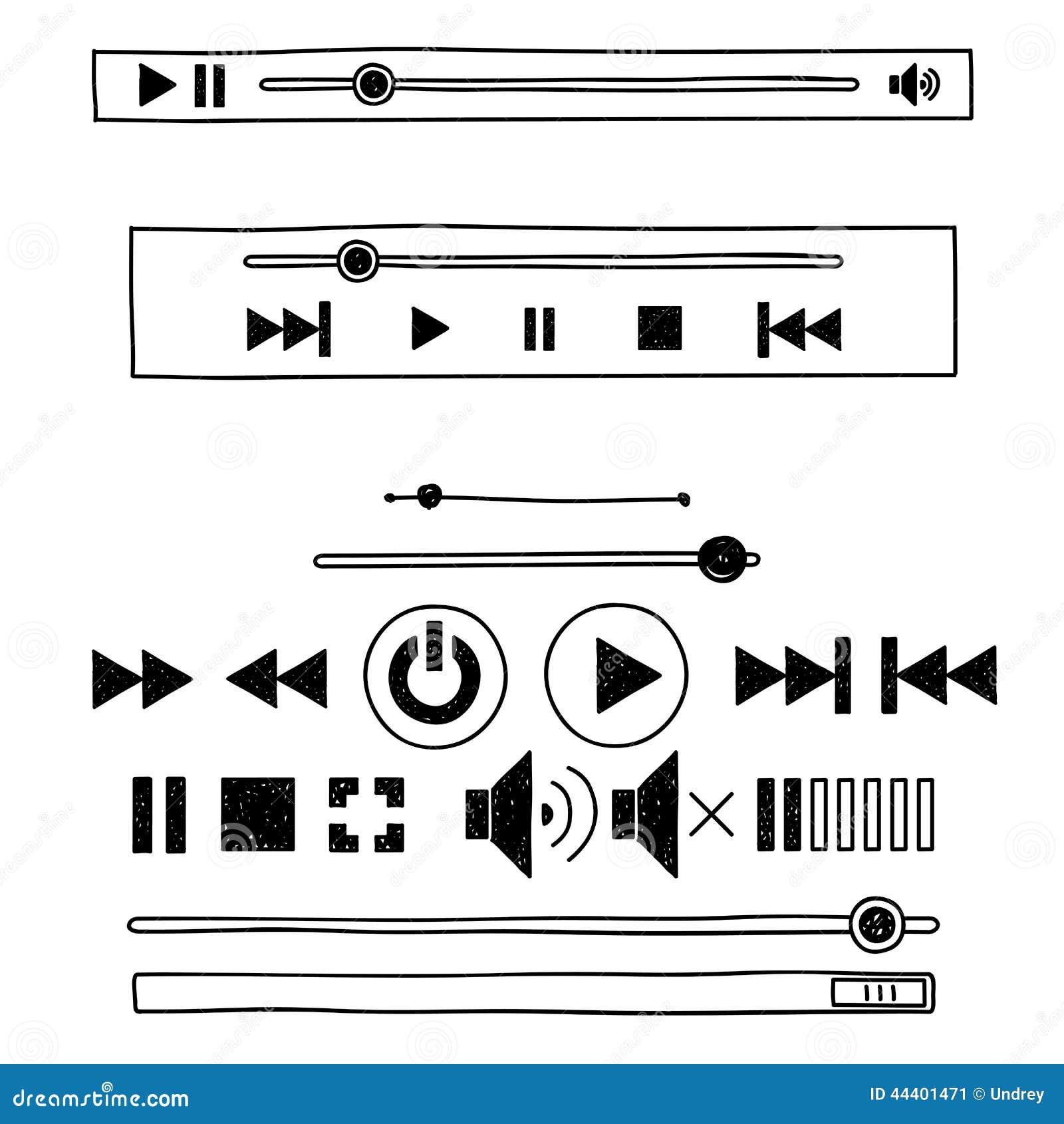 Skizzen-Gekritzel-Audiospieler des Handabgehobenen betrages für Netz