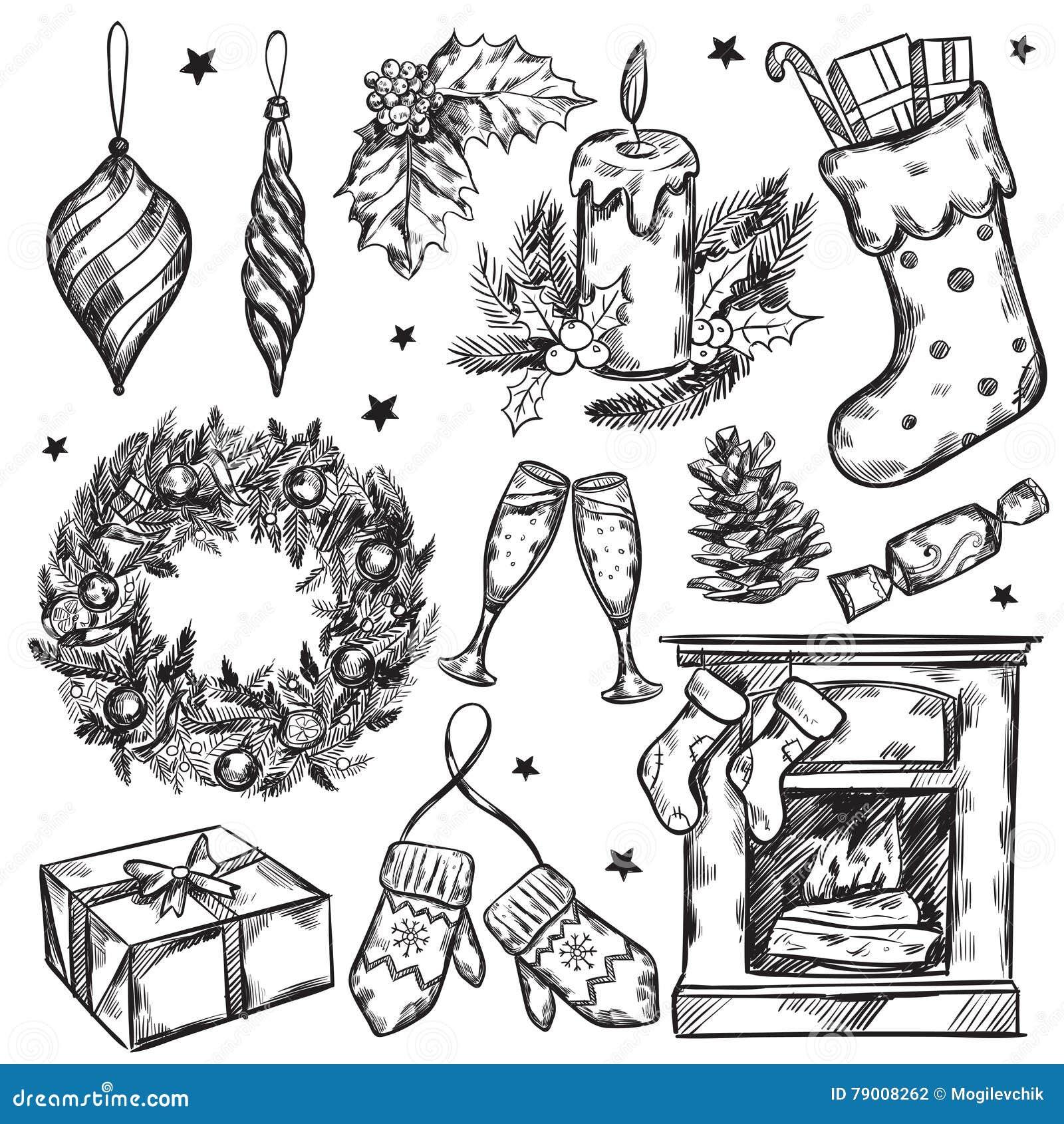 Skizzen-Weihnachtsgeschenk-Ikonen-Satz Vektor Abbildung ...
