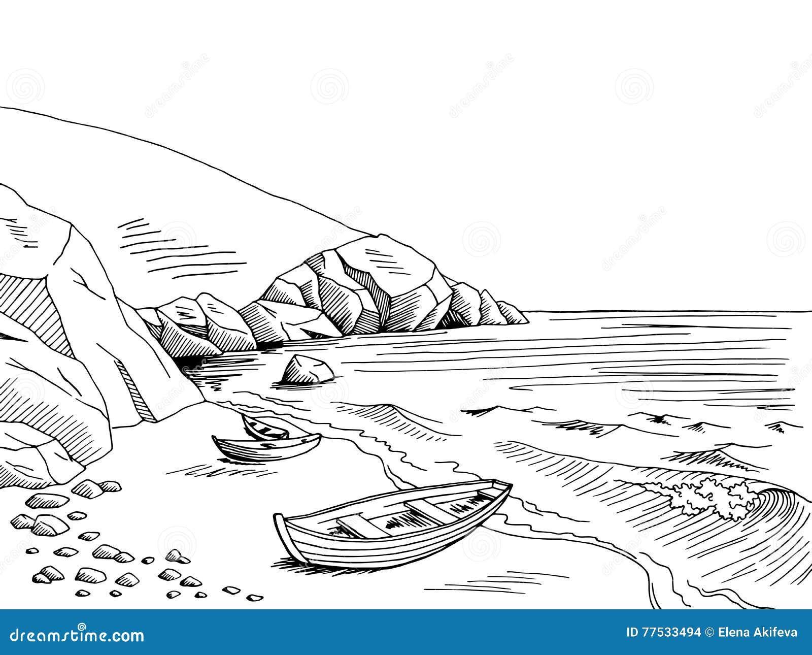 Skizzenillustration des Schwarzen der grafischen Kunst des Seebootes weiße Landschafts