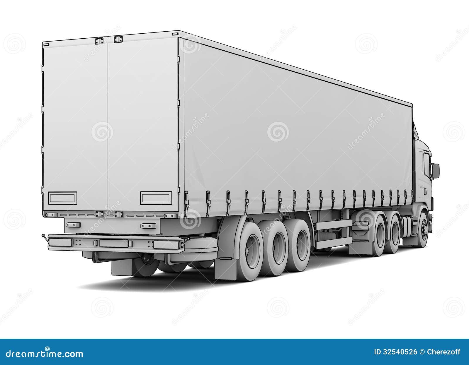 Skizzenweiß-LKW stock abbildung. Illustration von industrie - 32540526