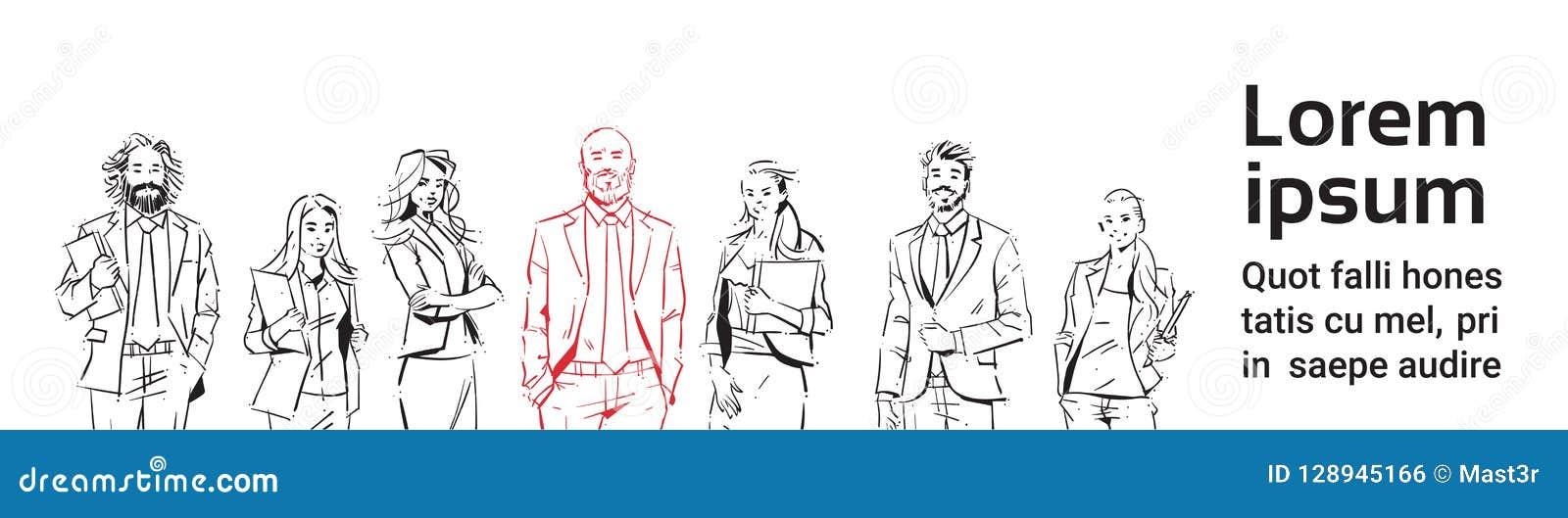 Skizzenwirtschaftler team Aufenthalt auf weißem Hintergrund, Führer vor Team von erfolgreichen Führungskräften, Porträtgruppe von