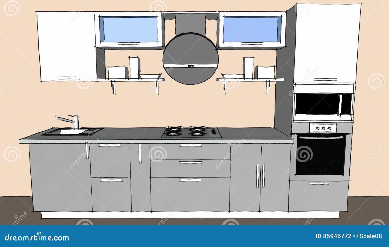 Skizzenzeichnung Des Grauen Modernen Innenraums Der Küche 3d Mit ...