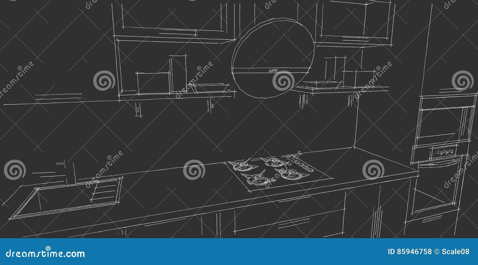 Skizzenzeichnung Des Modernen Innenraums Der Küche 3d Mit ...