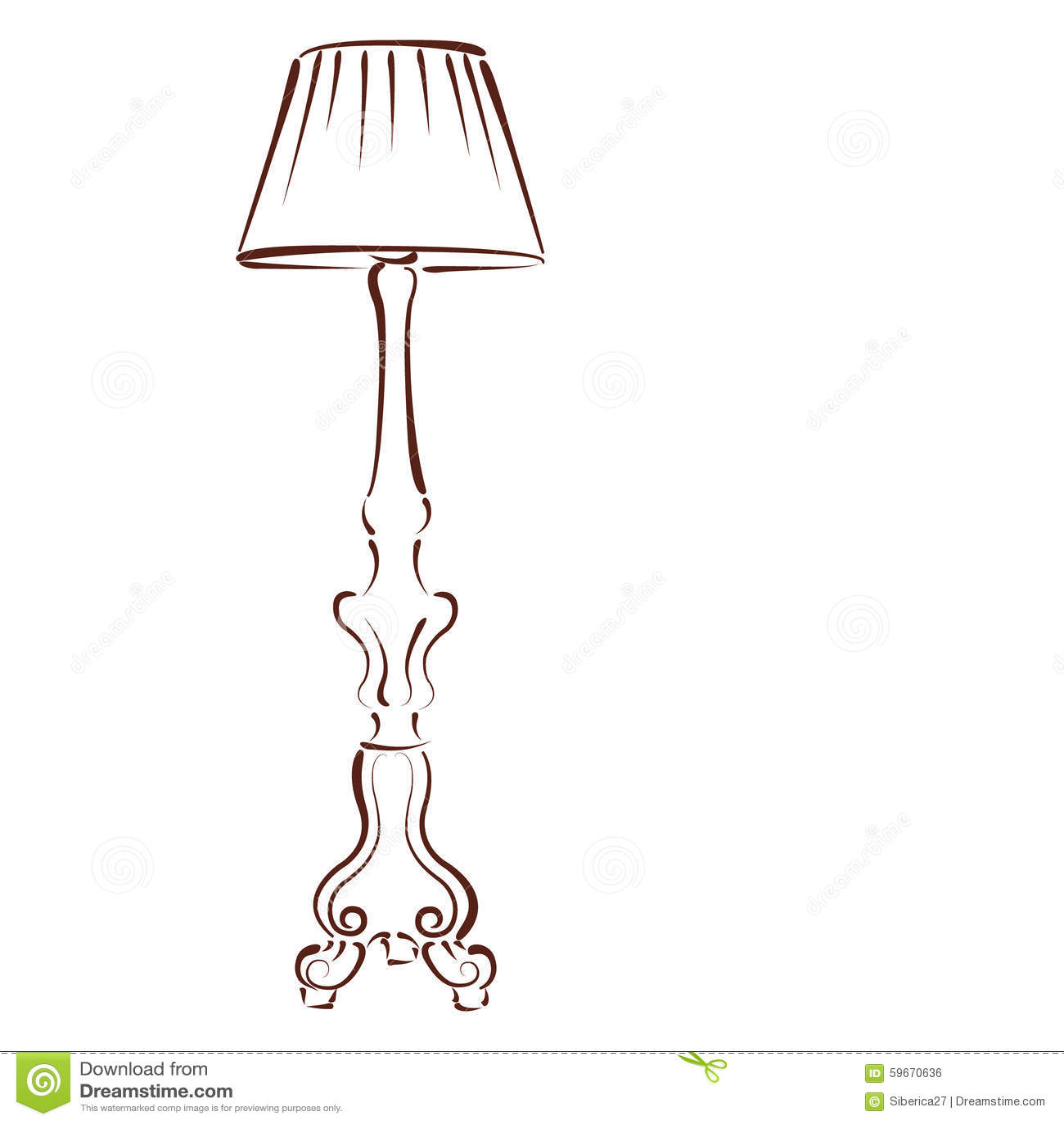 Stehlampe clipart  Skizzierte Stehlampe Vektor Abbildung - Bild: 59670636