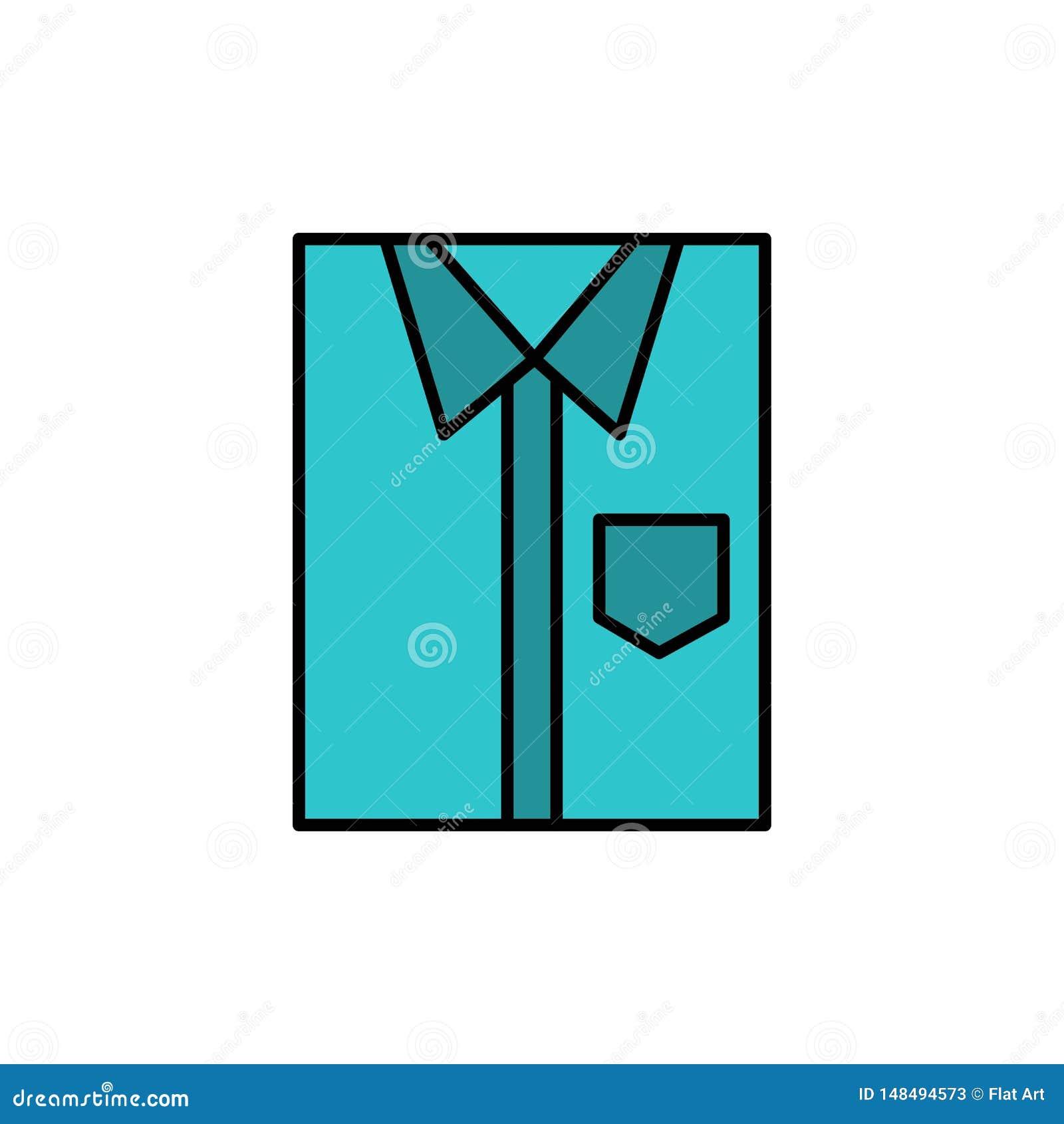 Skjorta torkduk, kläder, klänning, mode som är formellt, plan färgsymbol för kläder Mall för vektorsymbolsbaner
