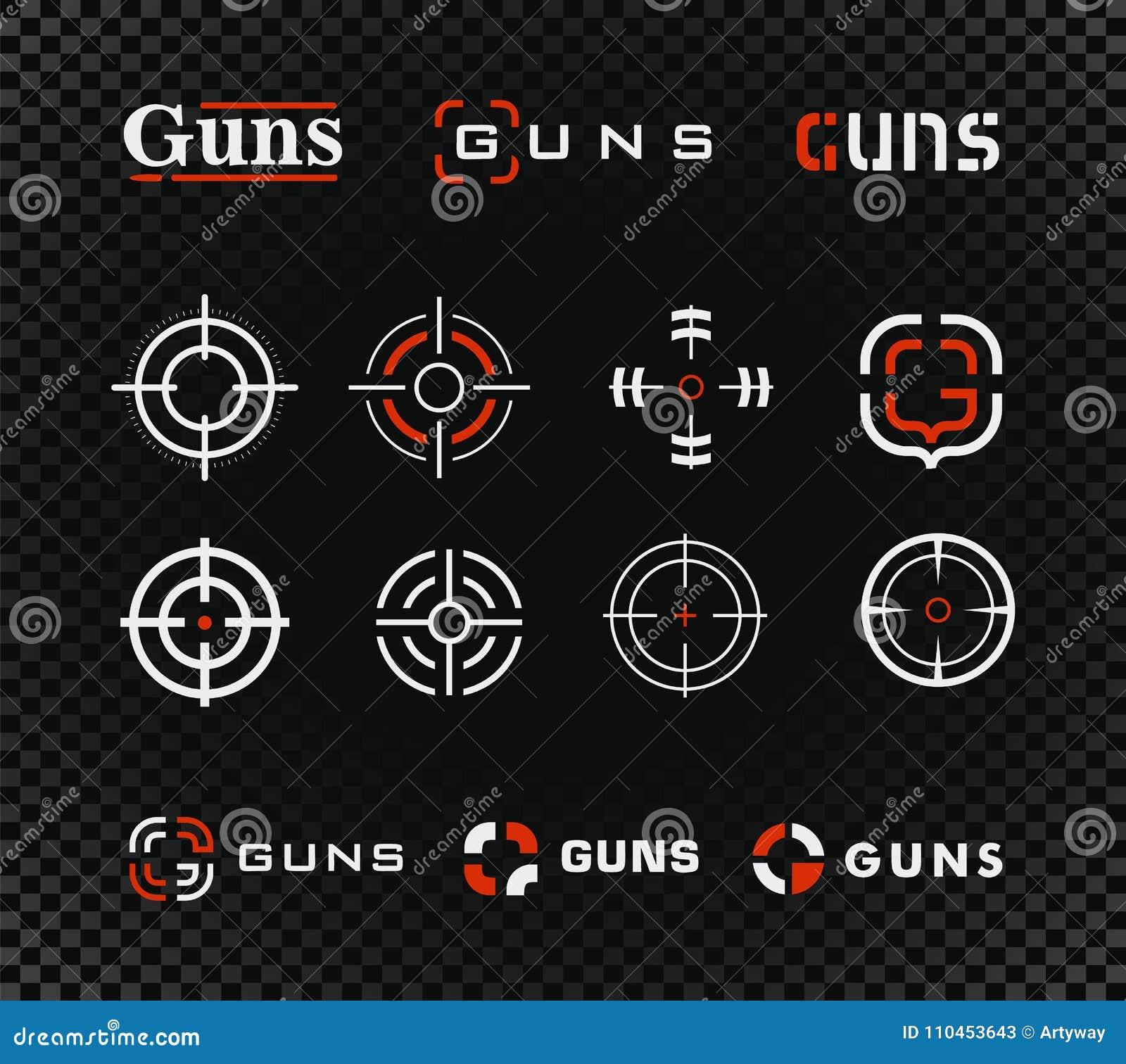 Skjutbanavektormall och symbolssamling Vapen eller annan uppsättning för tecken för vapengevärsikt på svart genomskinligt