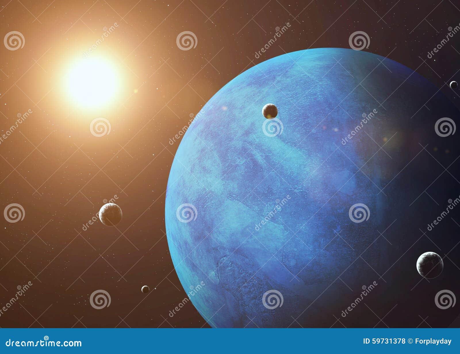 Skjutit av Neptun som tas från öppet utrymme collage