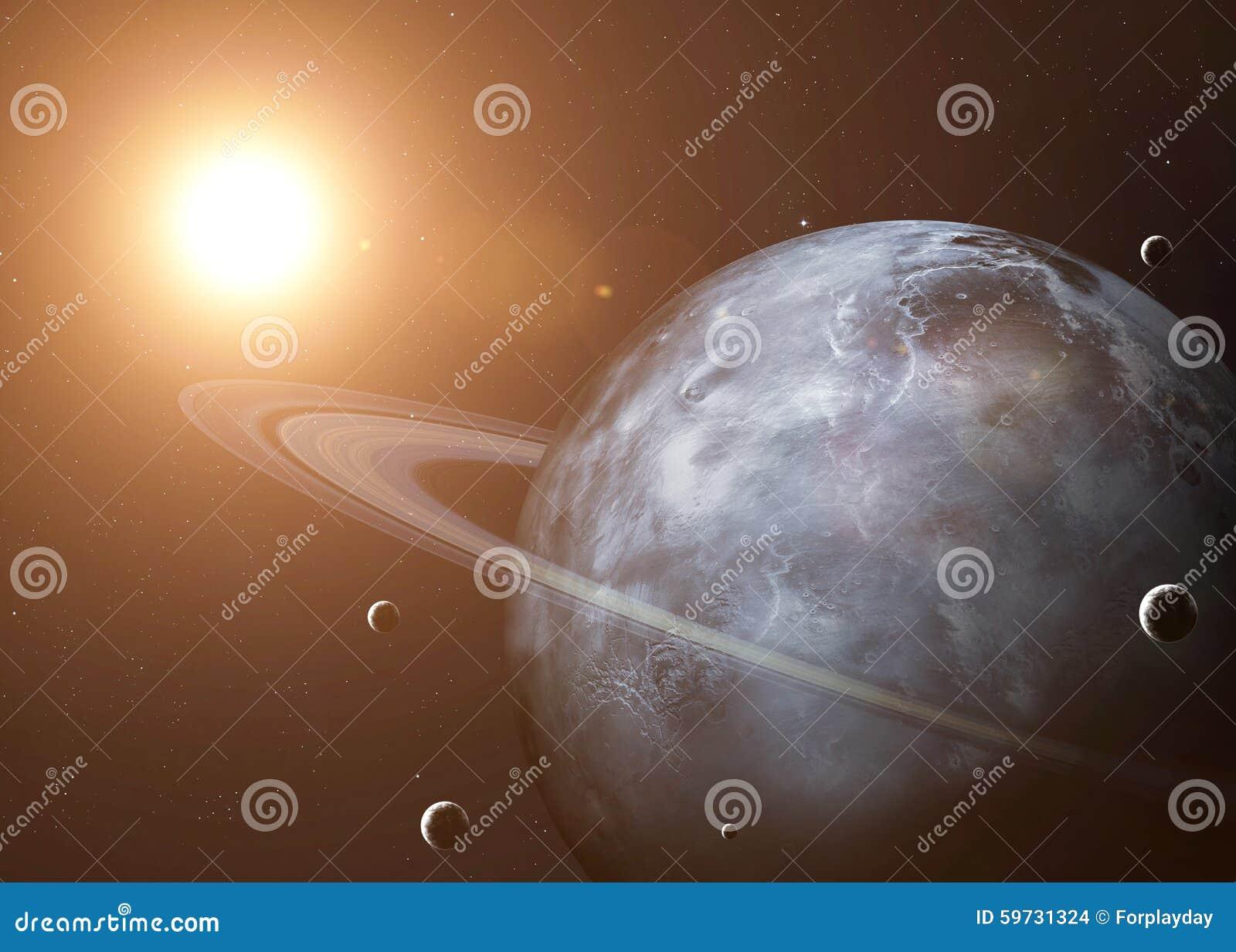 Skjutit av Uranus som tas från öppet utrymme collage