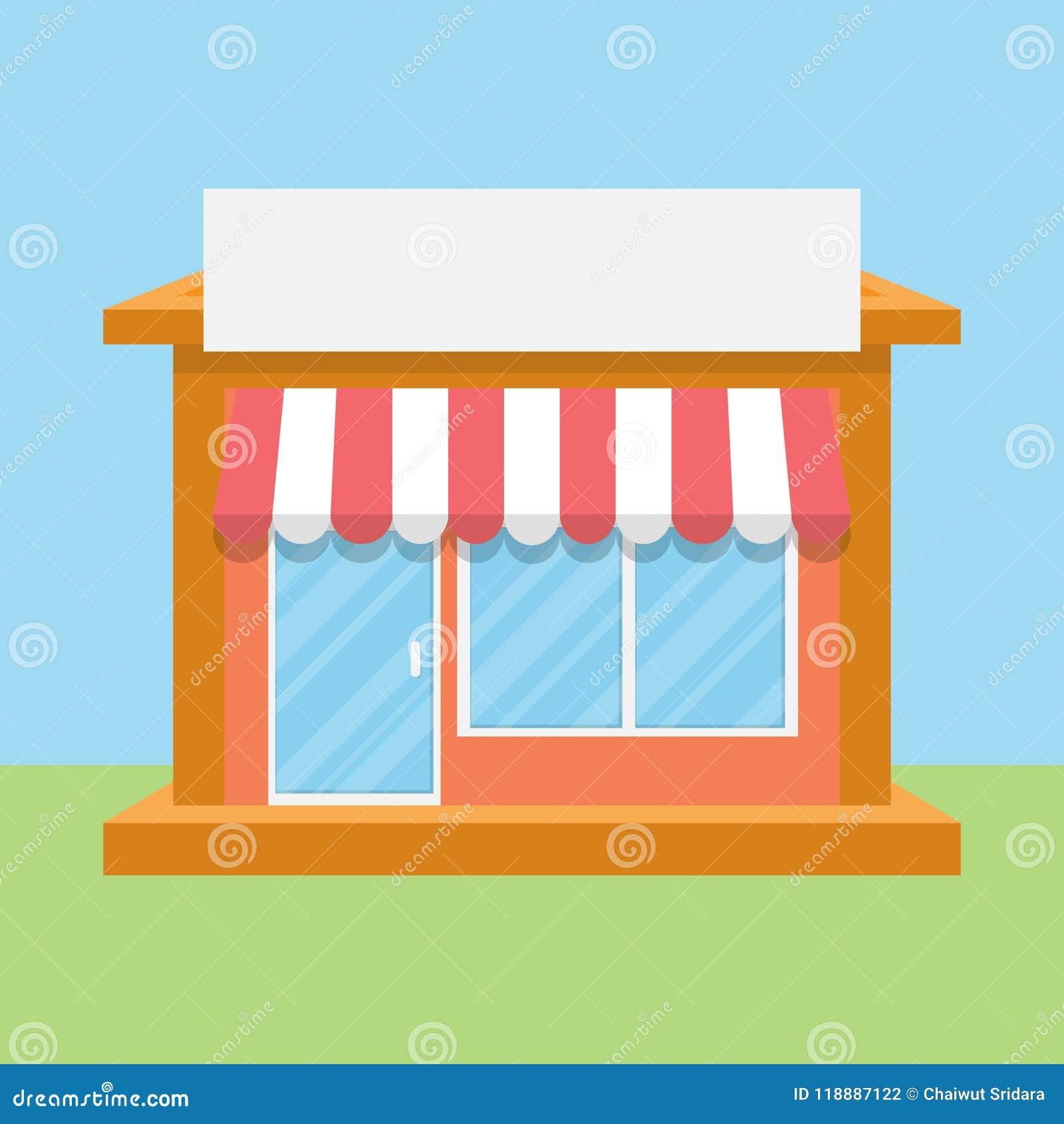 Sklep, ulica sklep, rynku projekta płaska ikona