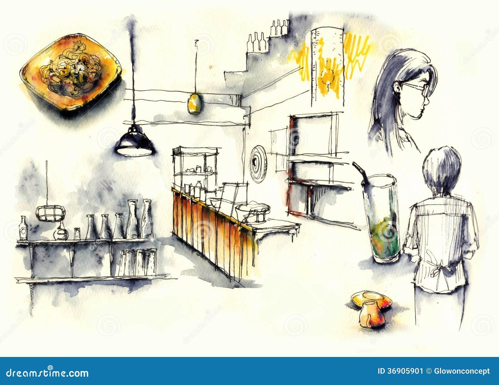 Sklep z kawą, cukierniani elementy ilustracyjni