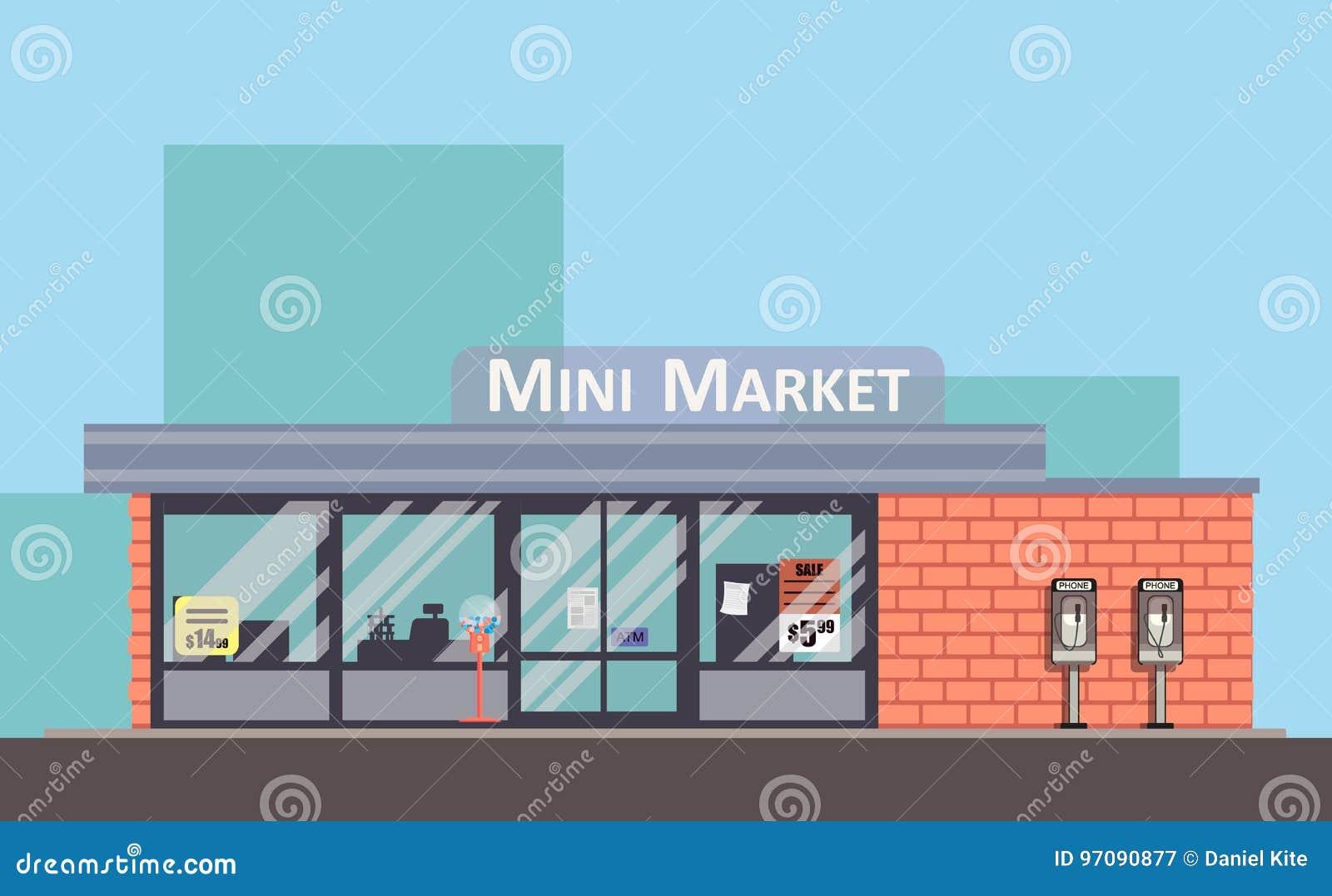 Sklepowa kolorowa wektorowa fasada Mini targowy płaski pojęcie