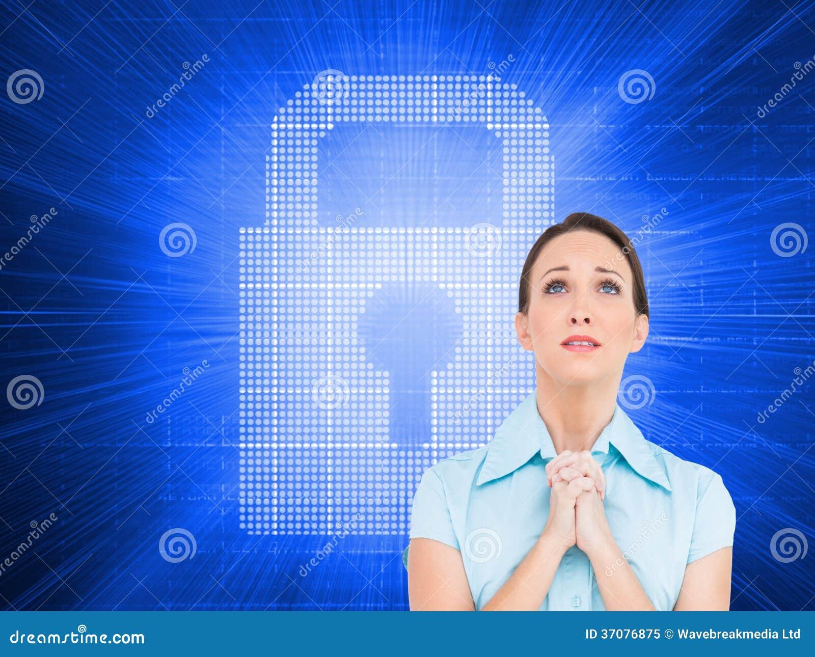 Download Skołatany Młody Bizneswomanu Modlenie Obraz Stock - Obraz złożonej z ikona, kobiety: 37076875