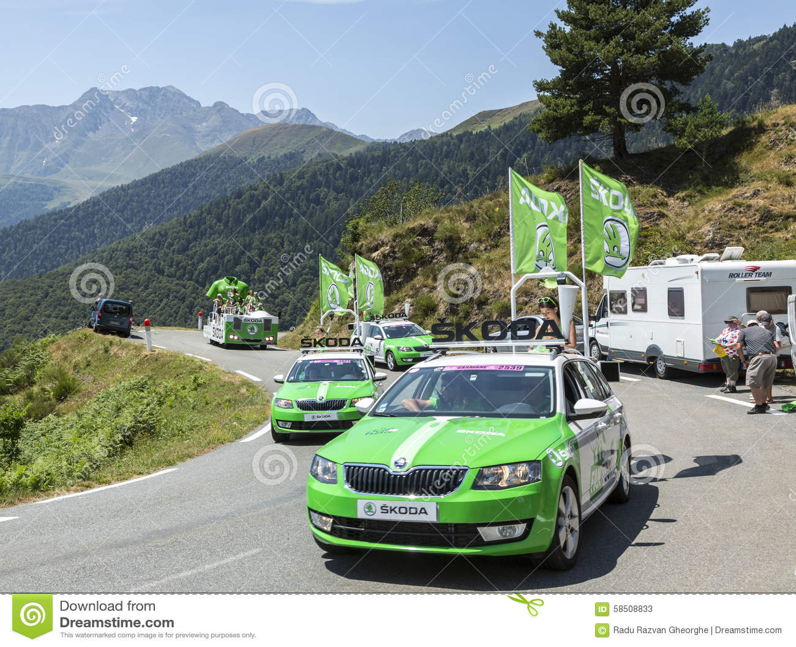 skoda caravan in pyrenees mountains tour de france 2015 editorial stock photo image 58508833. Black Bedroom Furniture Sets. Home Design Ideas