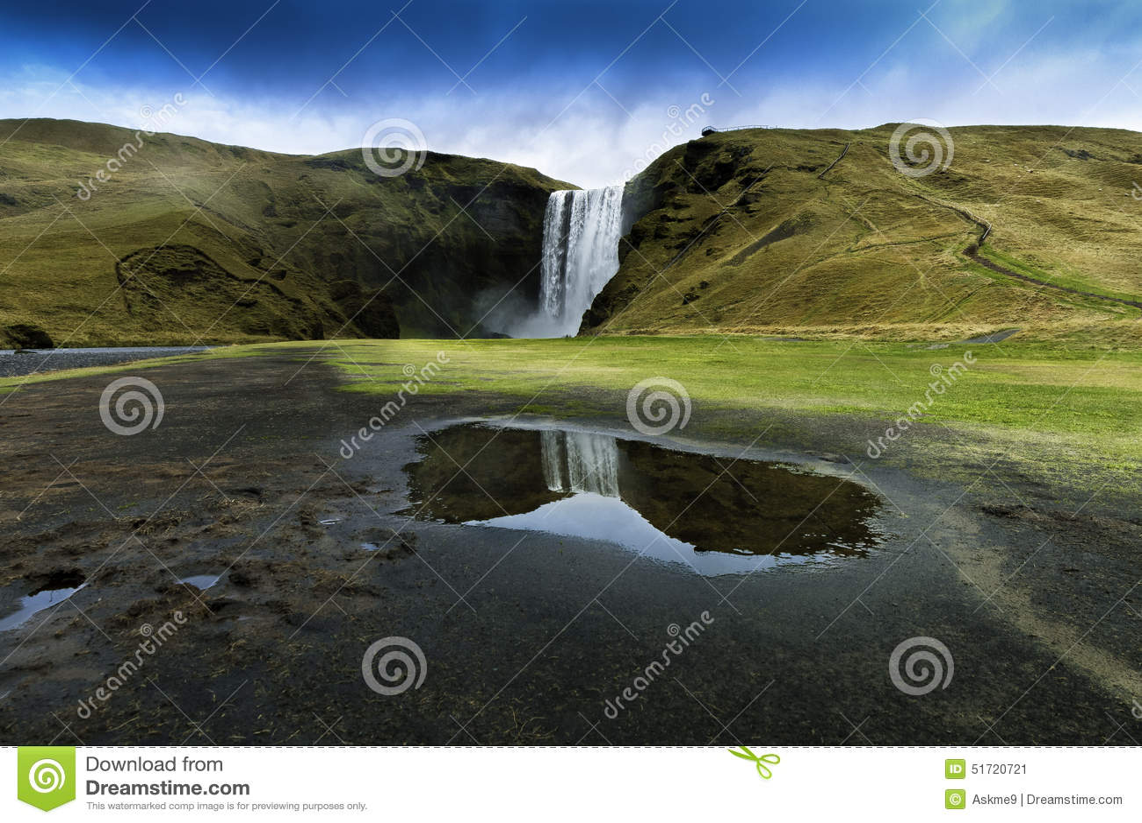 Skogar νότιος καταρράκτης της Ισλανδίας skogafoss