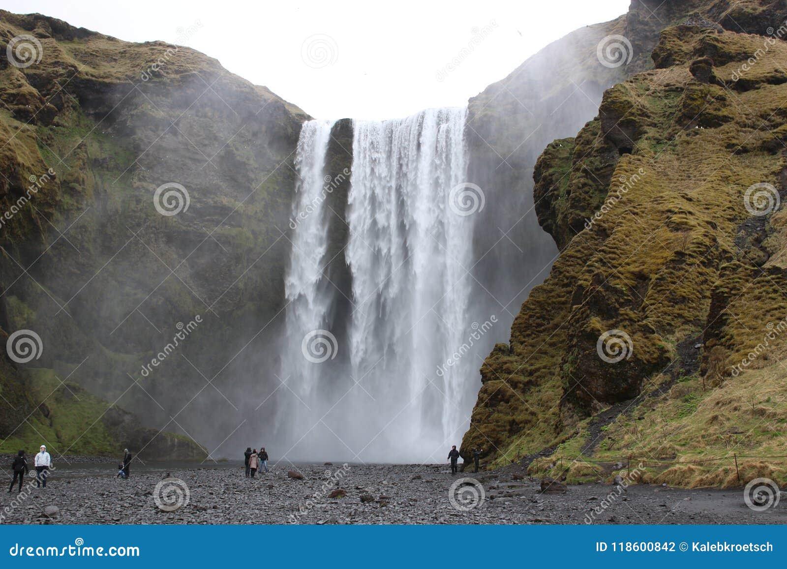 Skogar sydlig vattenfall för iceland skogafoss Naturlig turist- dragning av Island Vintern landskap på en solig dag Förbluffa i n