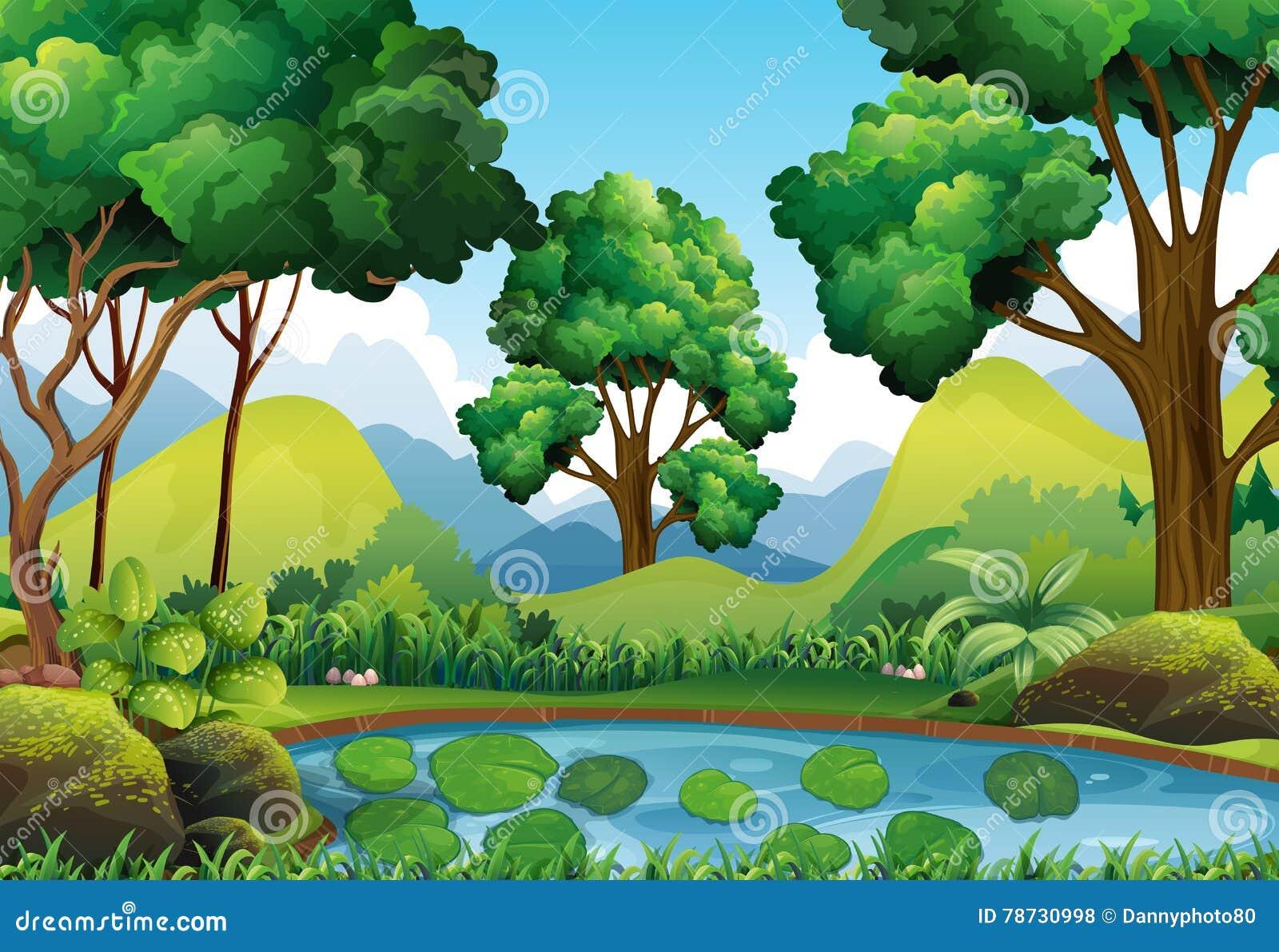 Skogplats med träd och dammet