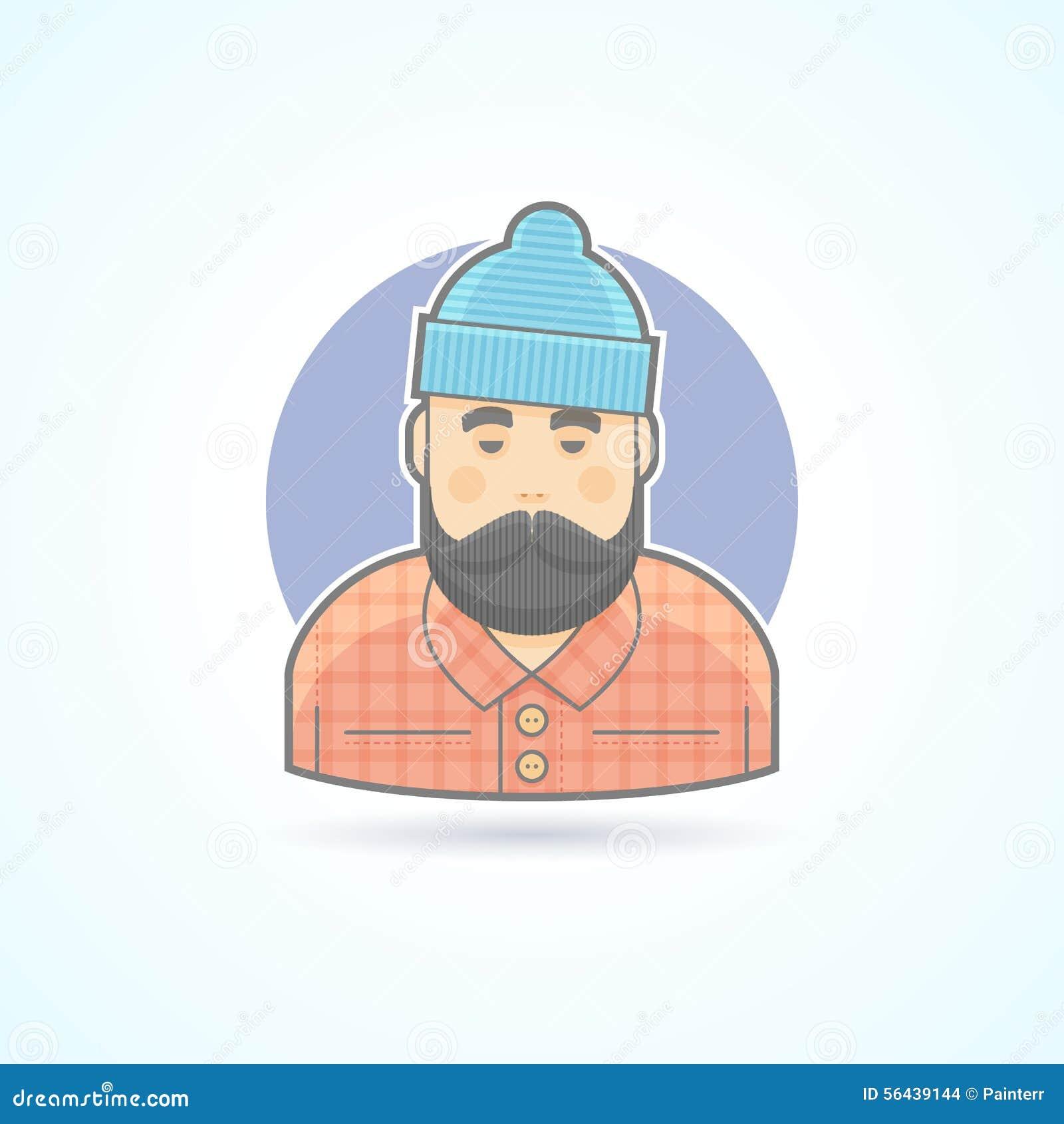 Skogsarbetare man med skägget, hipster, skogsarbetaresymbol Avatar- och personillustration
