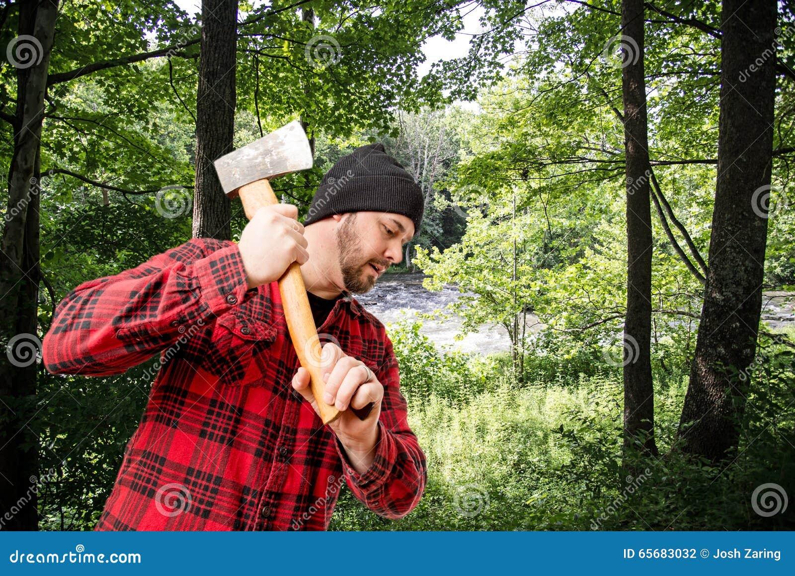 Skogsarbetare Woodsman Chopping Wood