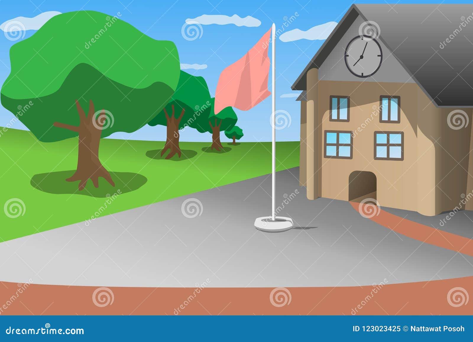 Skola trädet för gräsplan för blå himmel för den främre sikten och flaggstången, illustration för tecknad filmstilvektor