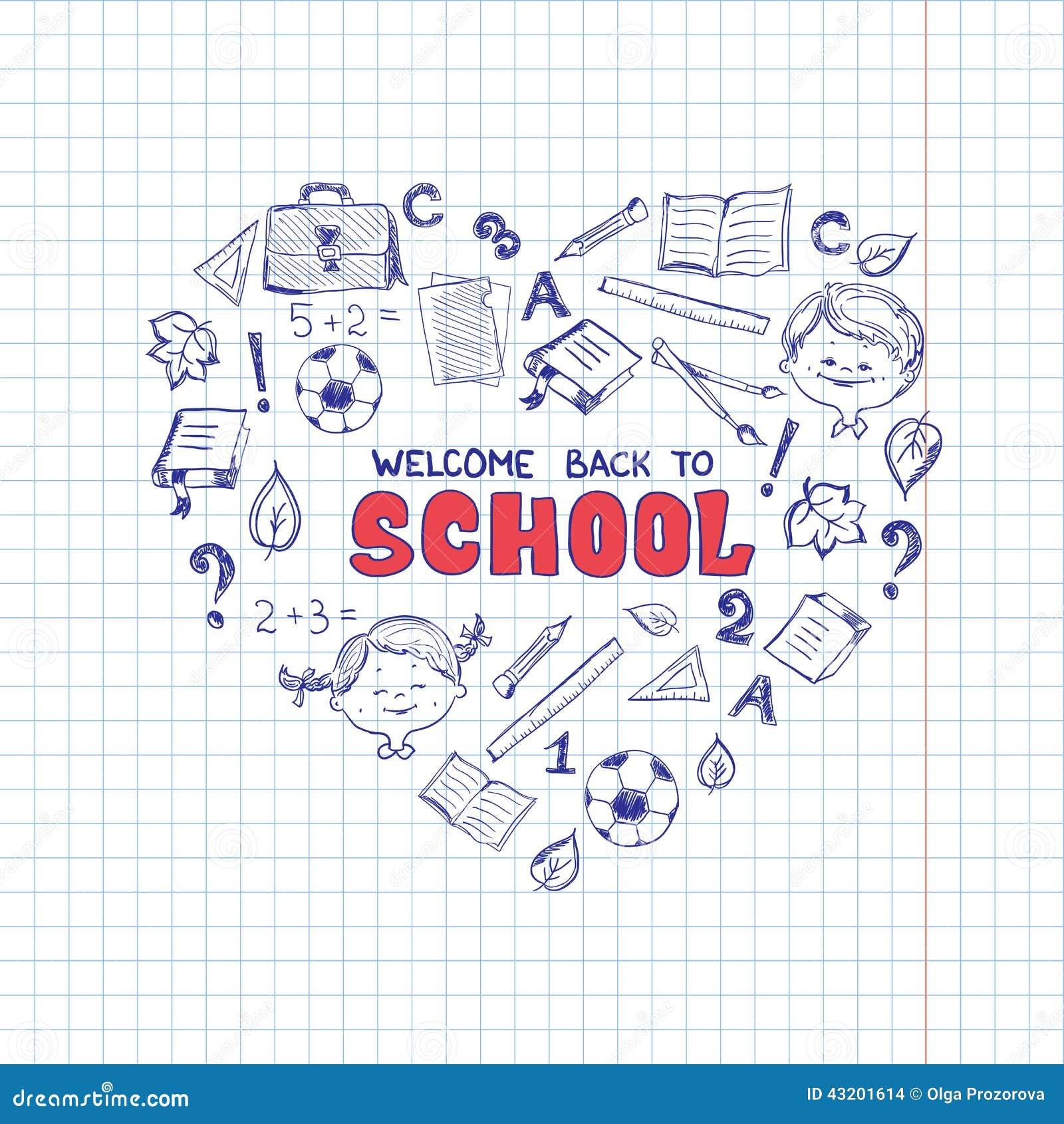 Download Skolan Anmärker I Formen Av Hjärta Vektor Illustrationer - Illustration av unge, baggies: 43201614