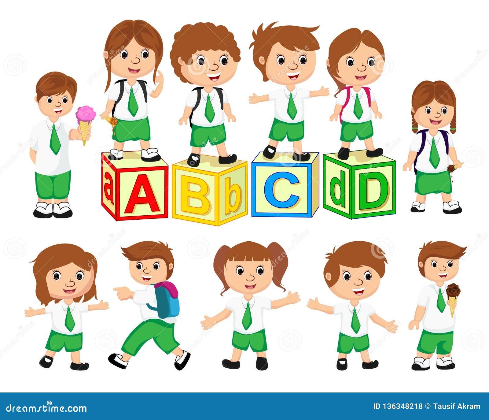 Skolastudent Characters Set Baksidt till skolavektorillustrationen