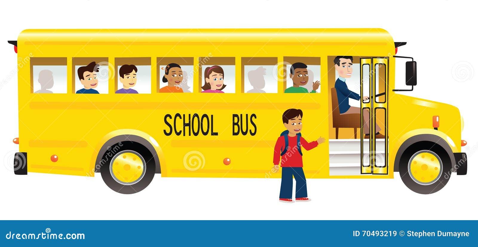 Skolbuss och barn