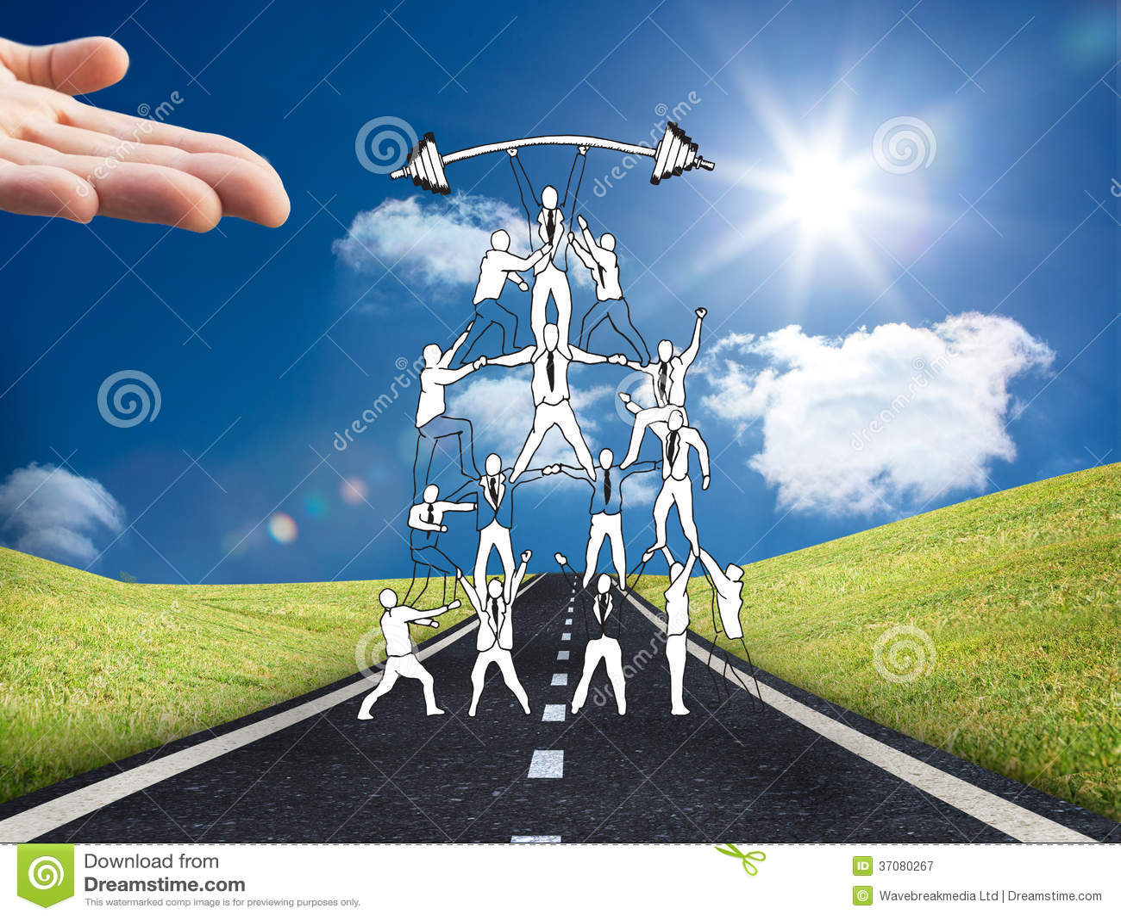 Download Skoncentrowany Biznesmen Z Palmą Up Obraz Stock - Obraz złożonej z jeden, odległość: 37080267