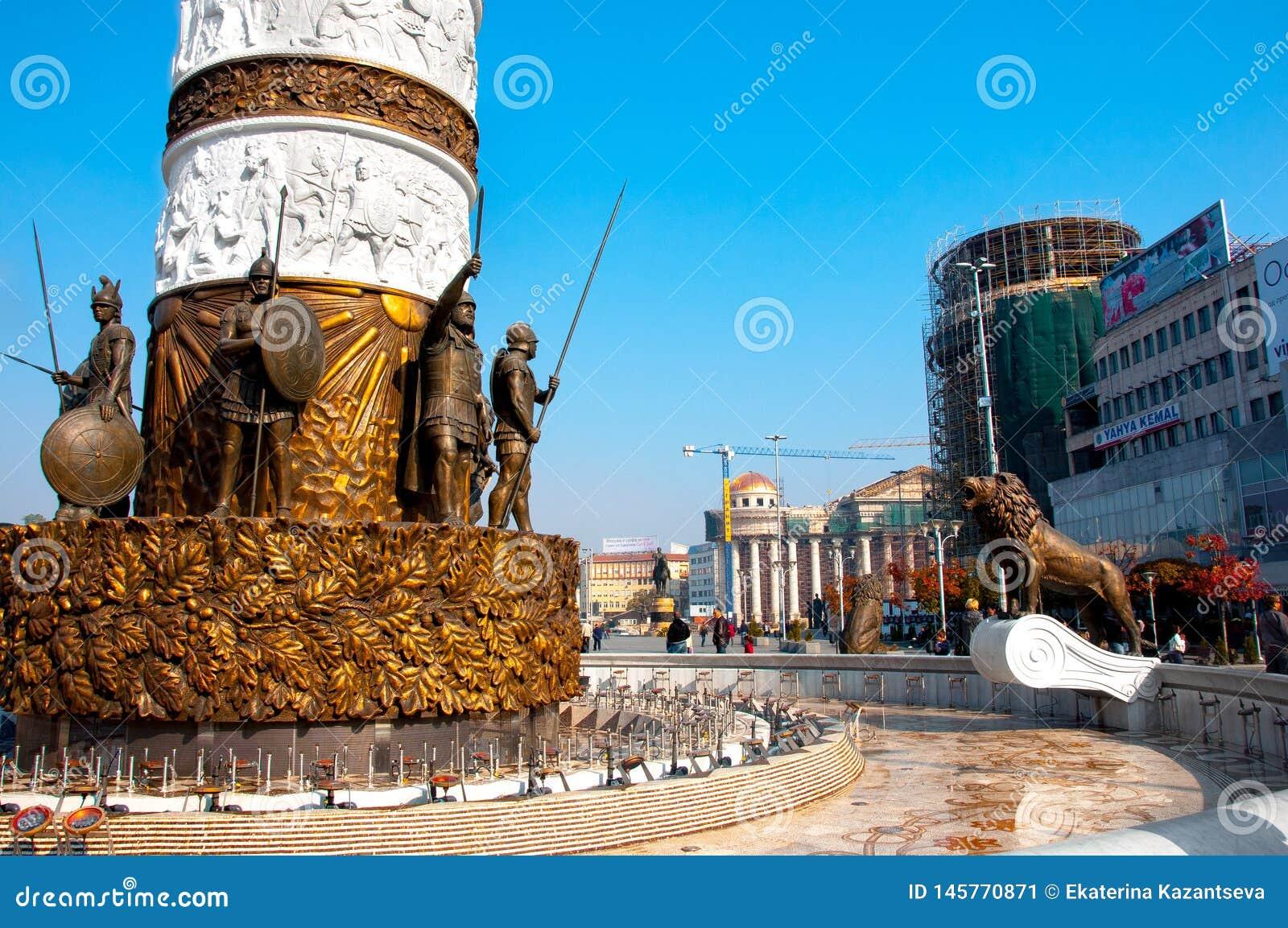 Skopje Macedonia, Listopad, - 2011 Baza zabytek fontanna Aleksander wielki