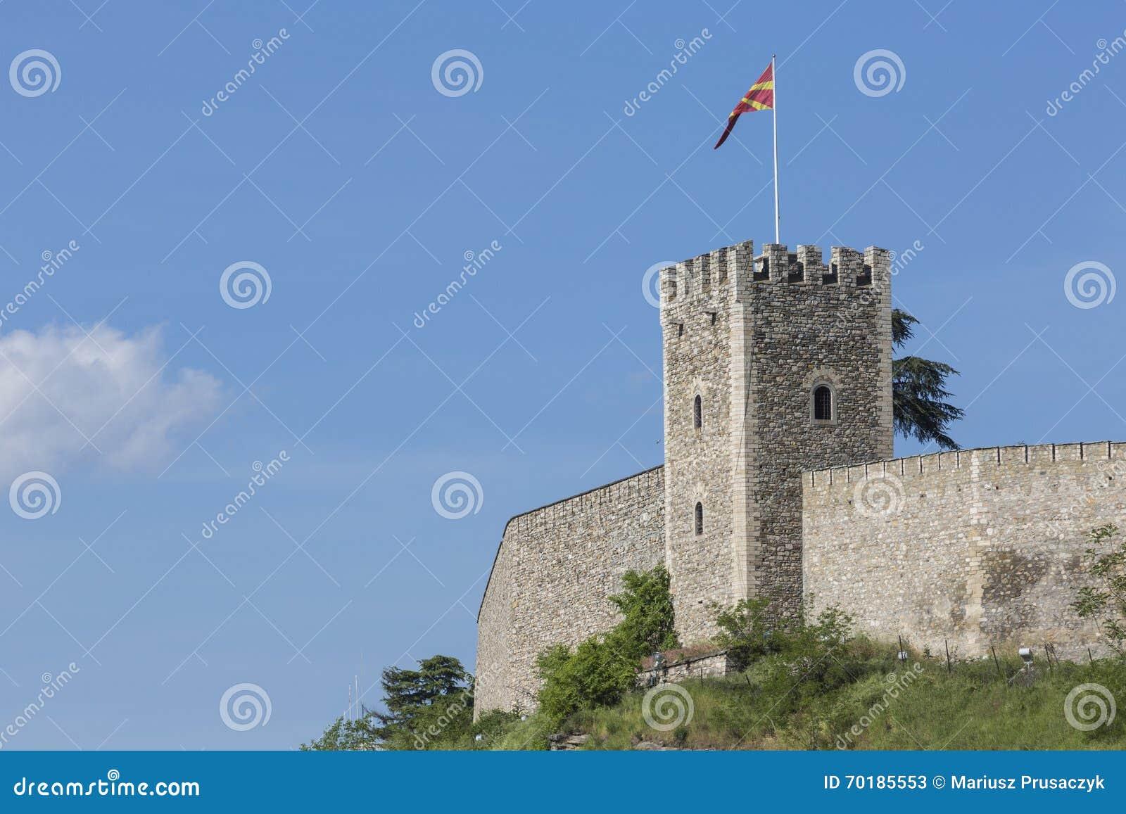 SKOPJE MAKEDONIEN - APRIL 15: Grönkålfästningen är en historisk fortre